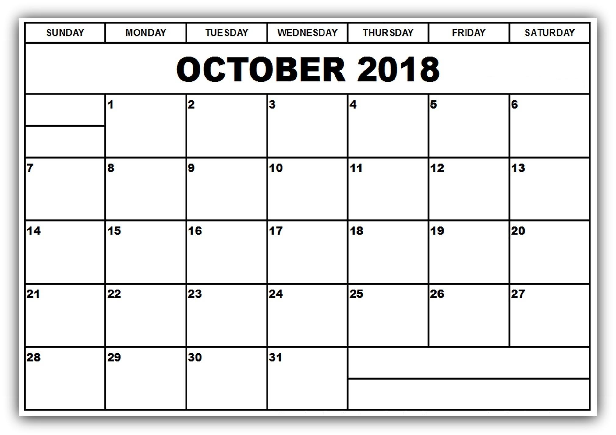 october 2018 calendar template printable printable calendar Printable October 2018 Calendar erdferdf