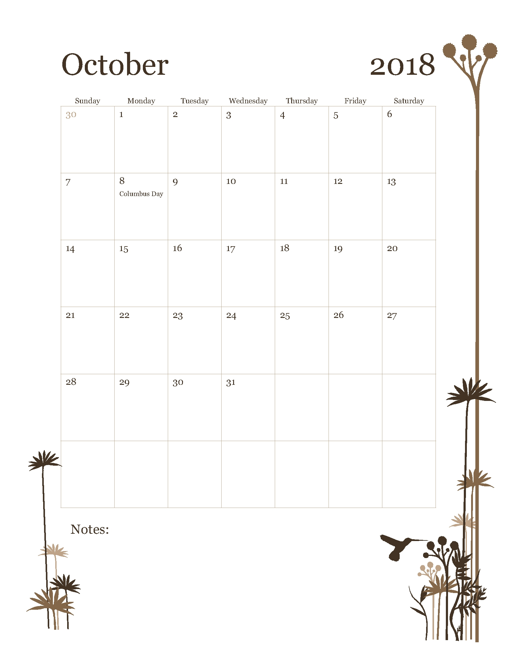 october 2018 calendar template word free printable calendar Free October 2018 Calendar Word Document erdferdf