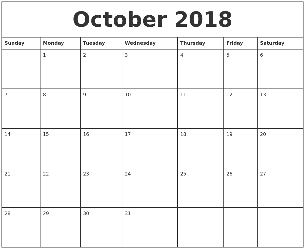 october 2018 calendar templates professional calendar printable 2018 Printable Calendar Template erdferdf