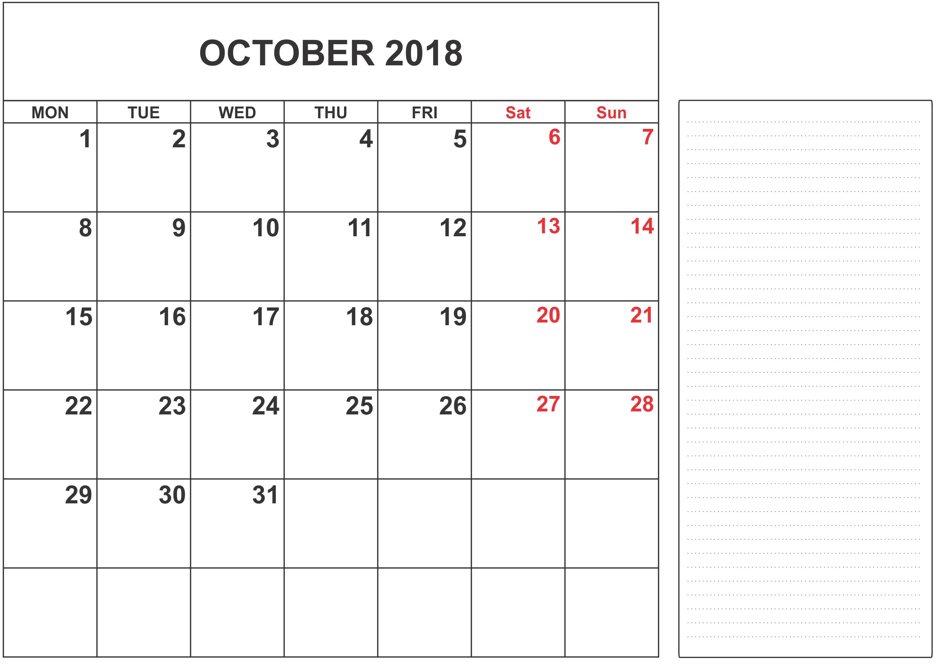october 2018 calendar us printable printable paper sheets October 2018 Calendar Holidays USA erdferdf