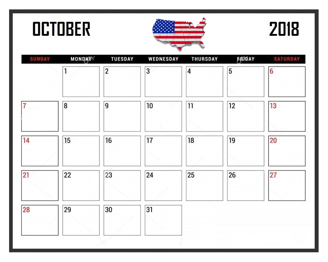 october 2018 calendar usa national holidays paper worksheets October 2018 Calendar Holidays USA erdferdf