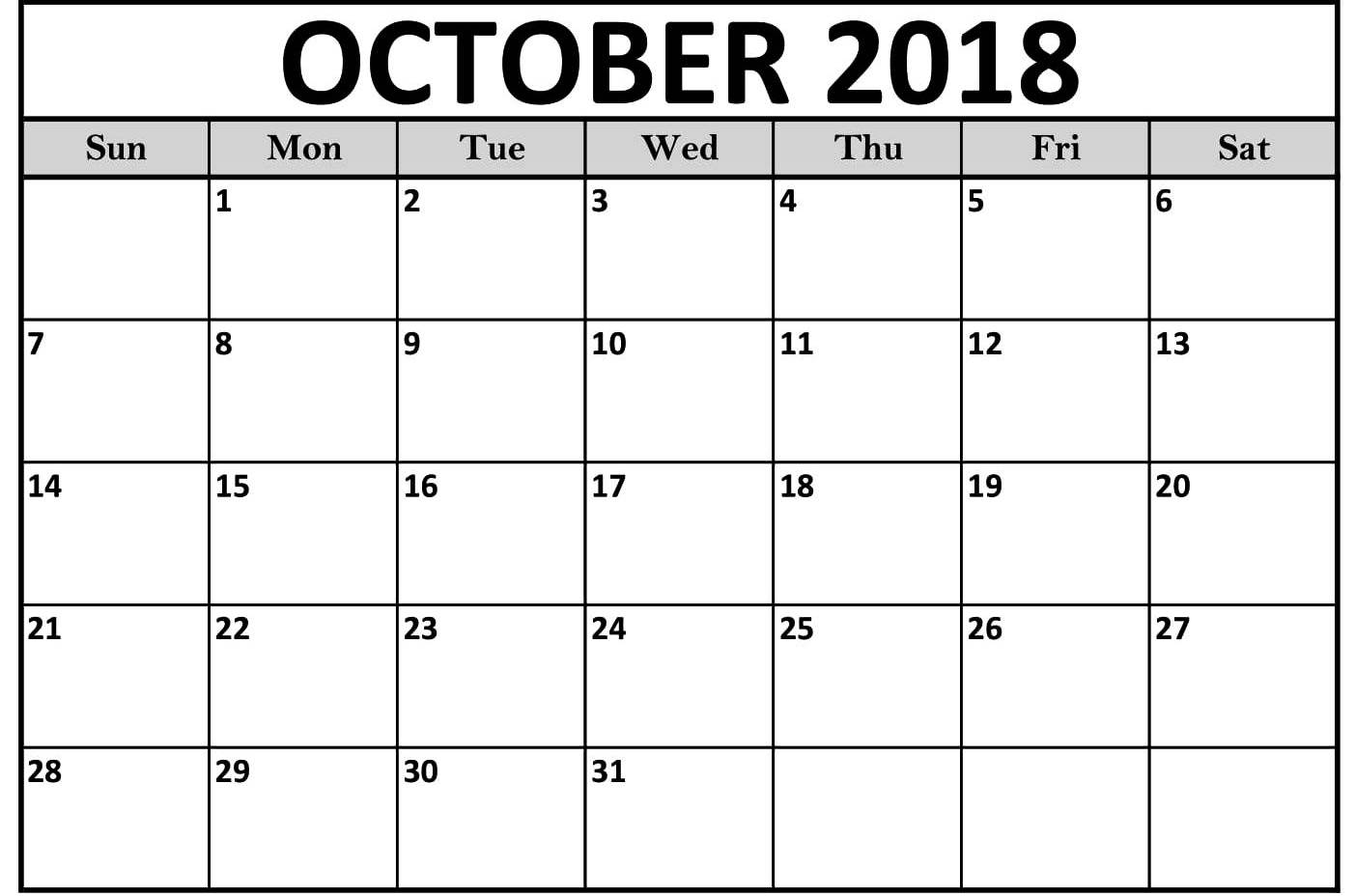 october 2018 calendar with holidays uk canada usa printable October 2018 Calendar Holidays USA erdferdf