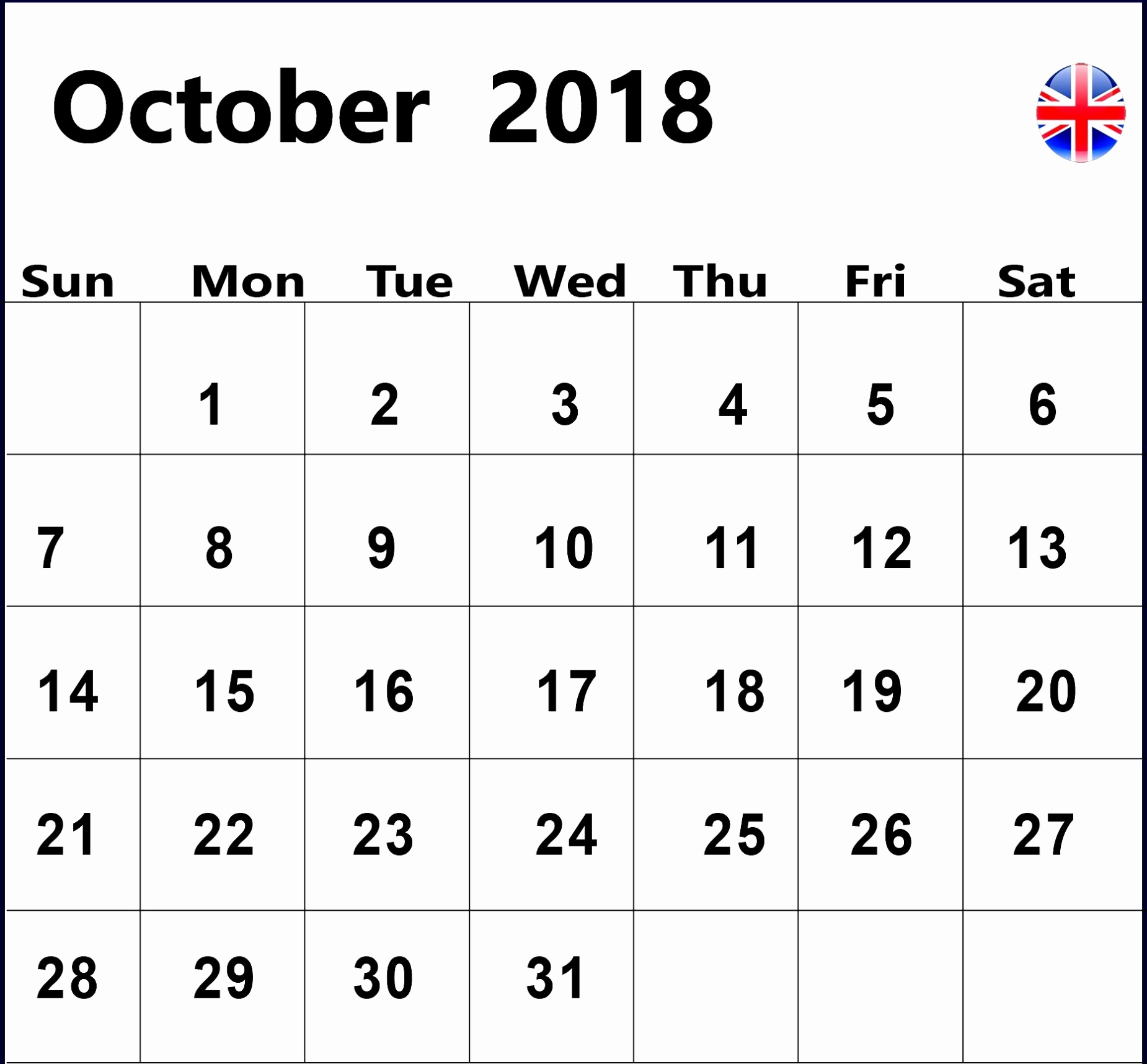 october 2018 calendar with holidays uk october 2018 calendar uk October 2018 Calendar Holidays USA erdferdf