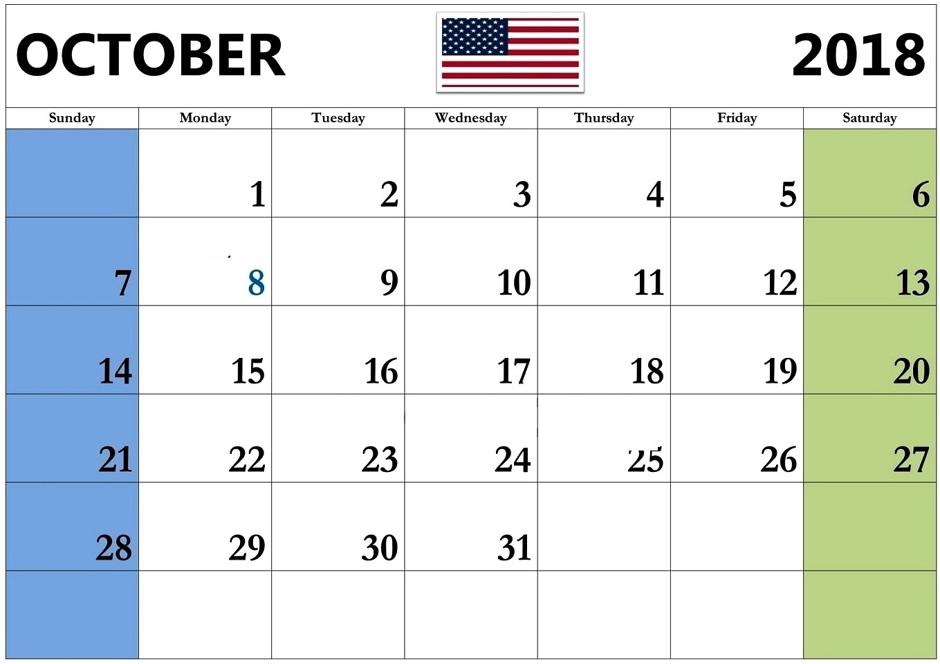 october 2018 calendar with holidays usa task management template October 2018 Calendar Holidays USA erdferdf