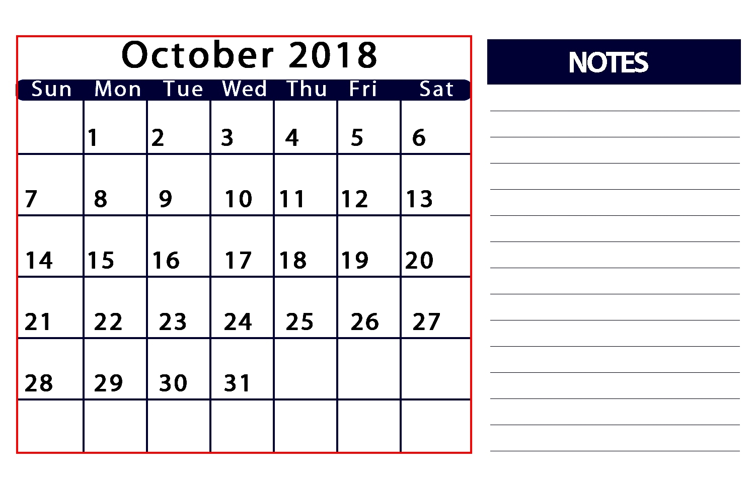 october 2018 calendar with notes calendar printable with holidays October 2018 Calendar with Notes erdferdf