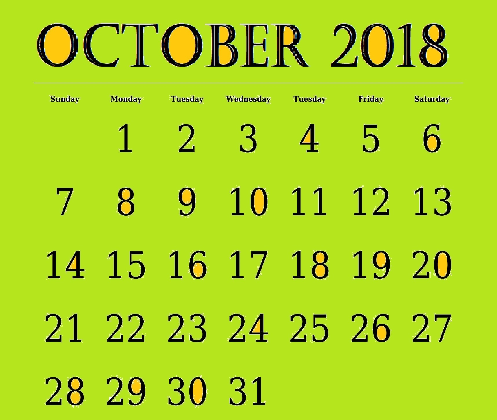 october 2018 editable calendar printable template free printable Free October 2018 Calendar Word Document erdferdf