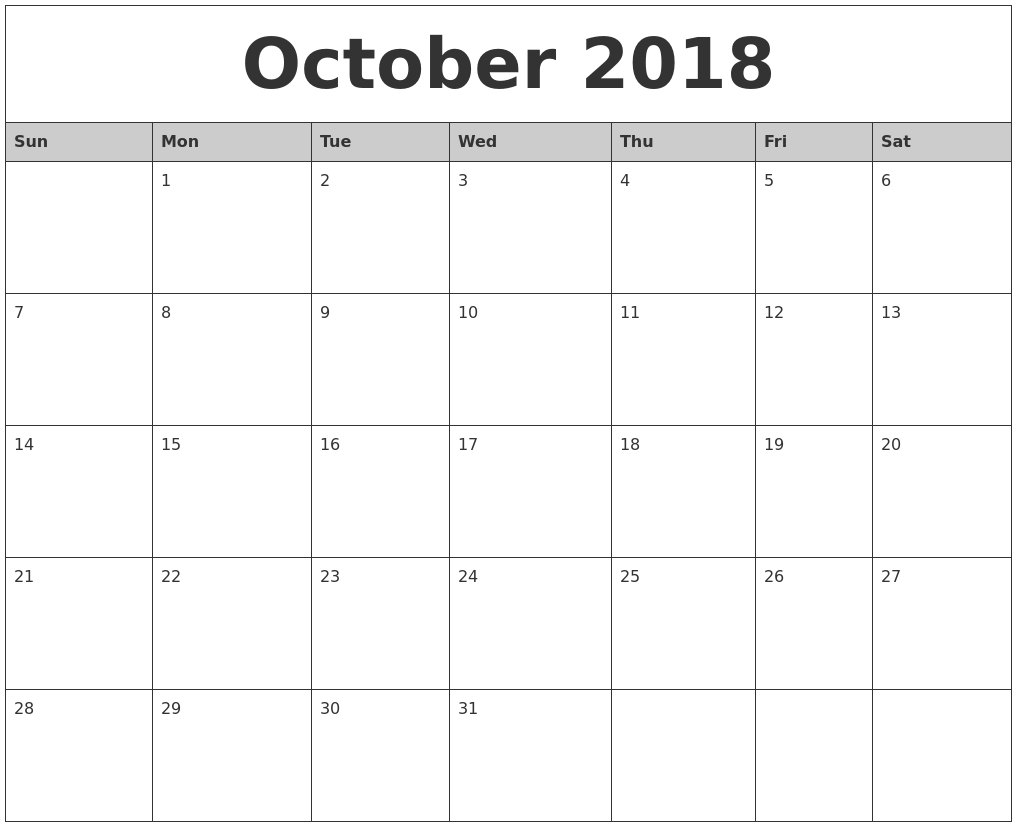 october 2018 monthly calendar printable Calendar October 2018 Printables erdferdf
