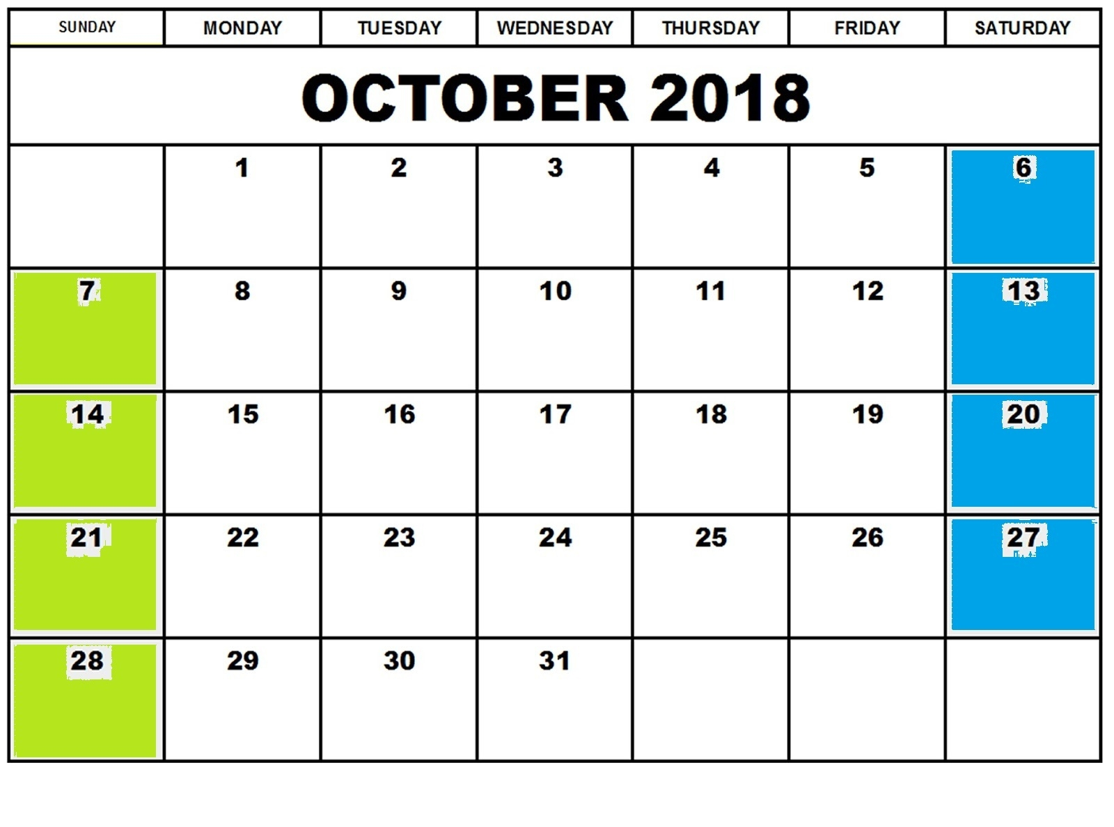 october 2018 monthly calendar template printable calendar Free October 2018 Calendar Word Document erdferdf