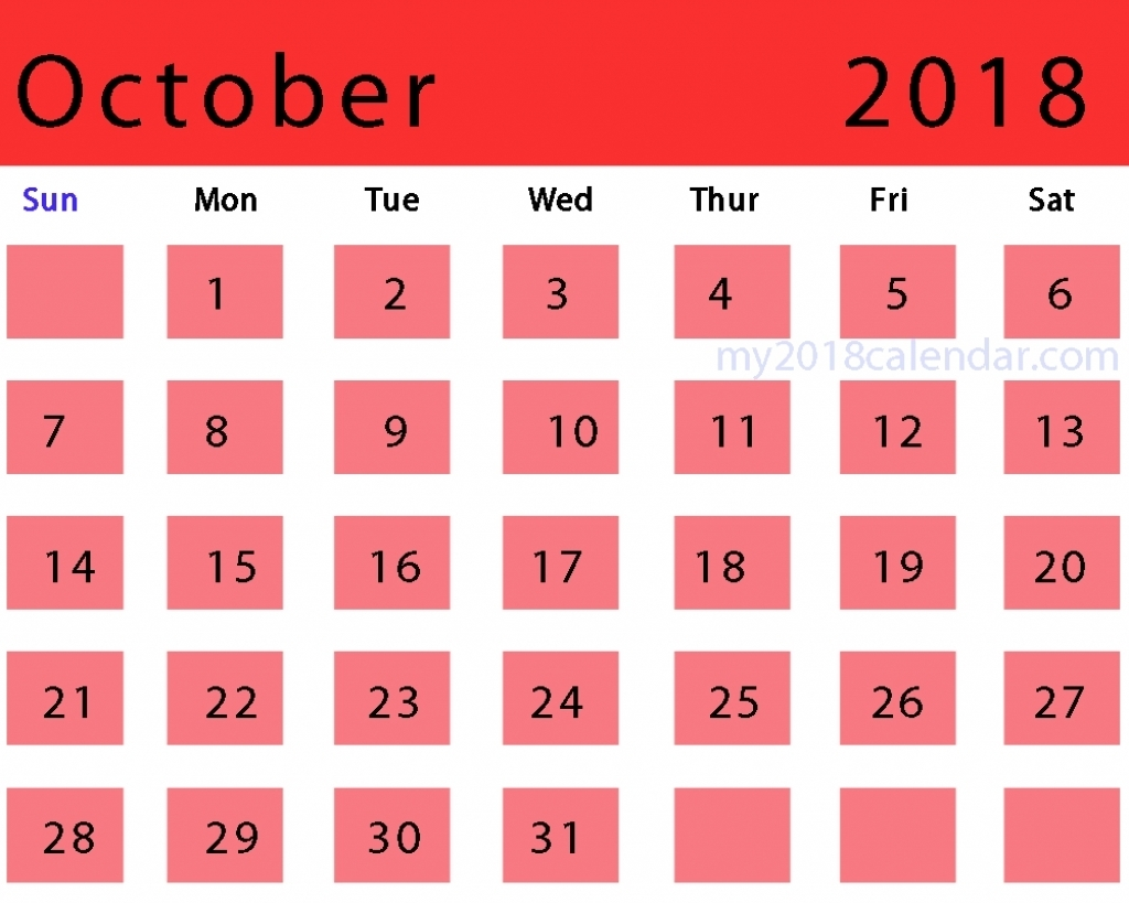 Printable Calendar October 2018 Template Excel Sheets