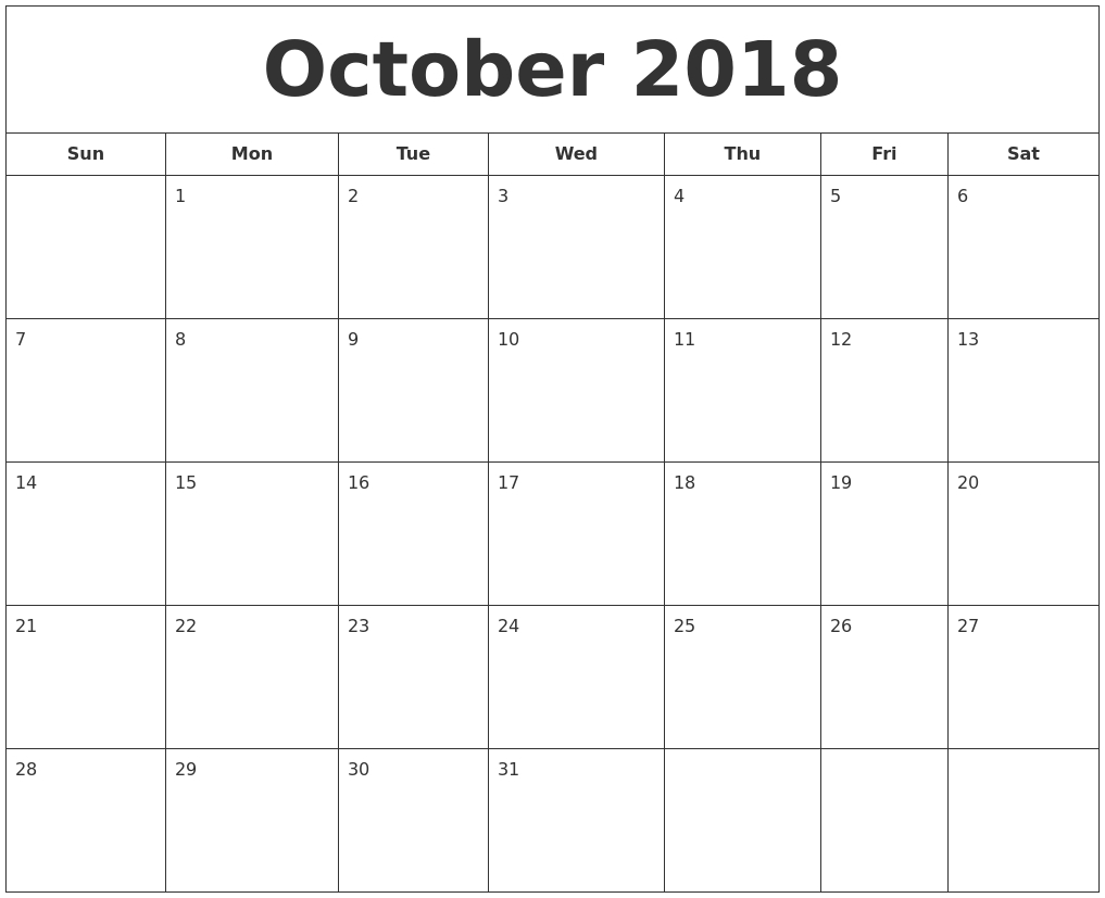 october 2018 printable calendar Printable October 2018 Calendar erdferdf
