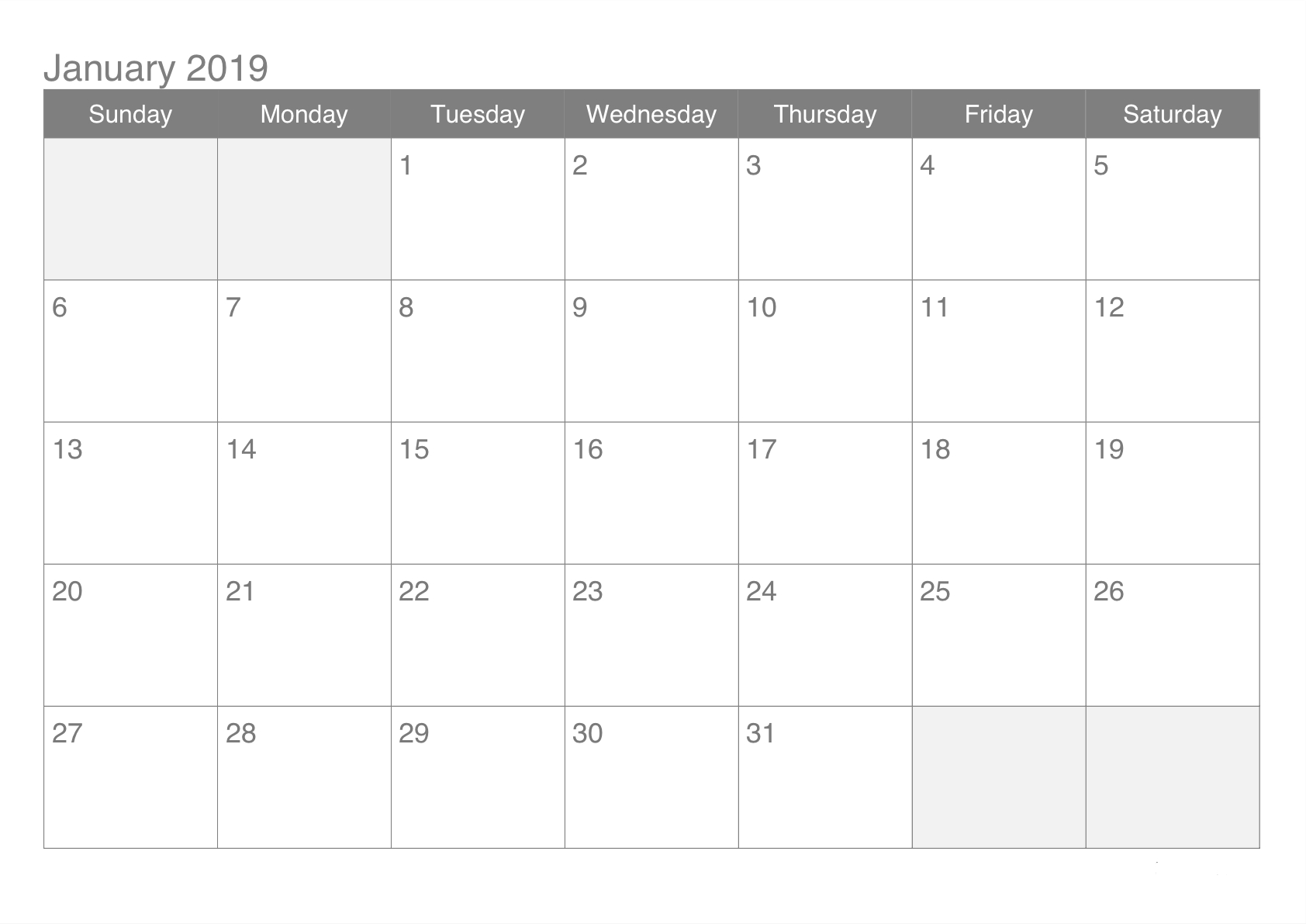online january 2019 calendar pdf word excel free online calendars::January 2019 Calendar Word