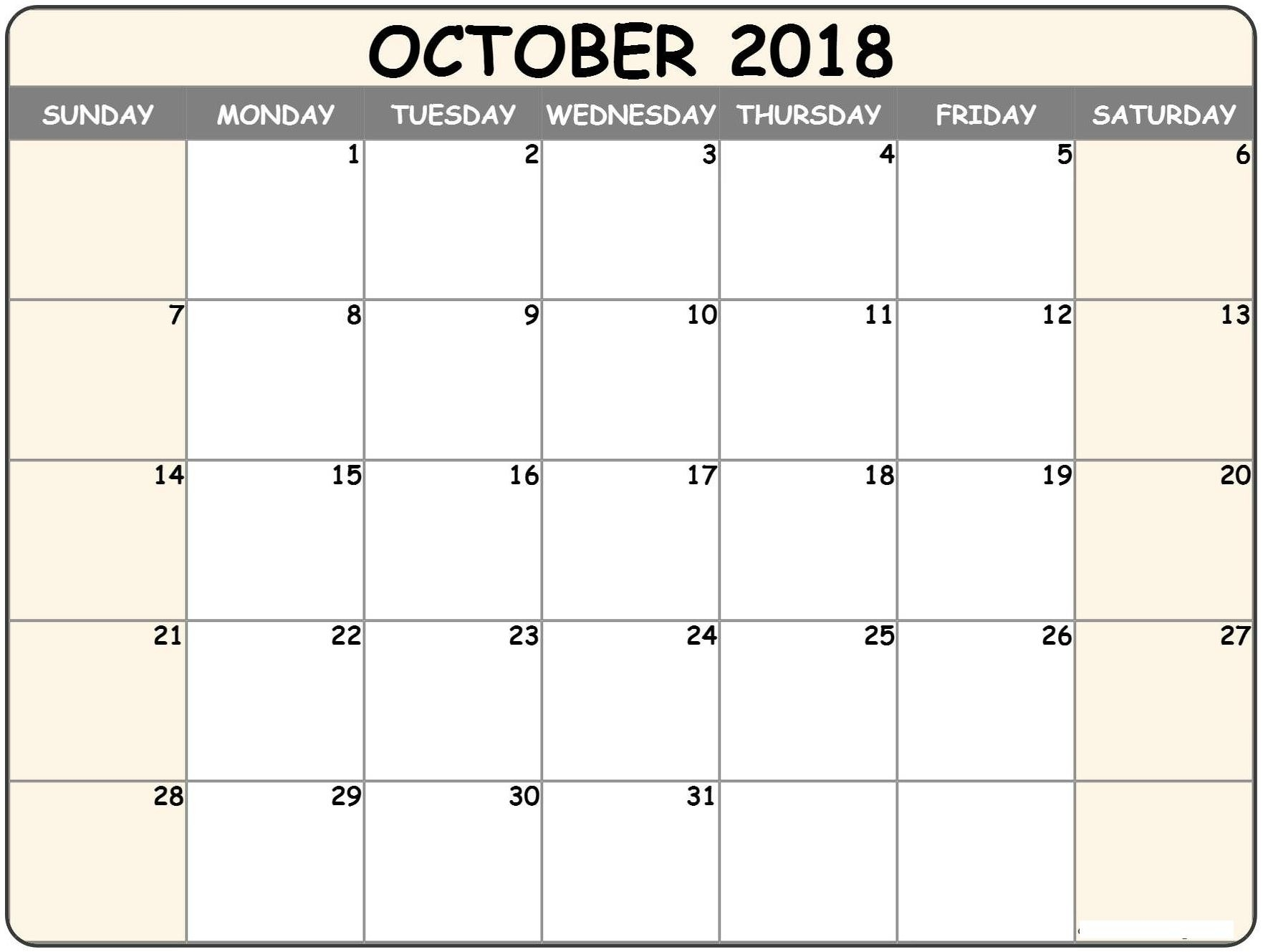 Calendar October 2018 Printable Template Holidays Excel