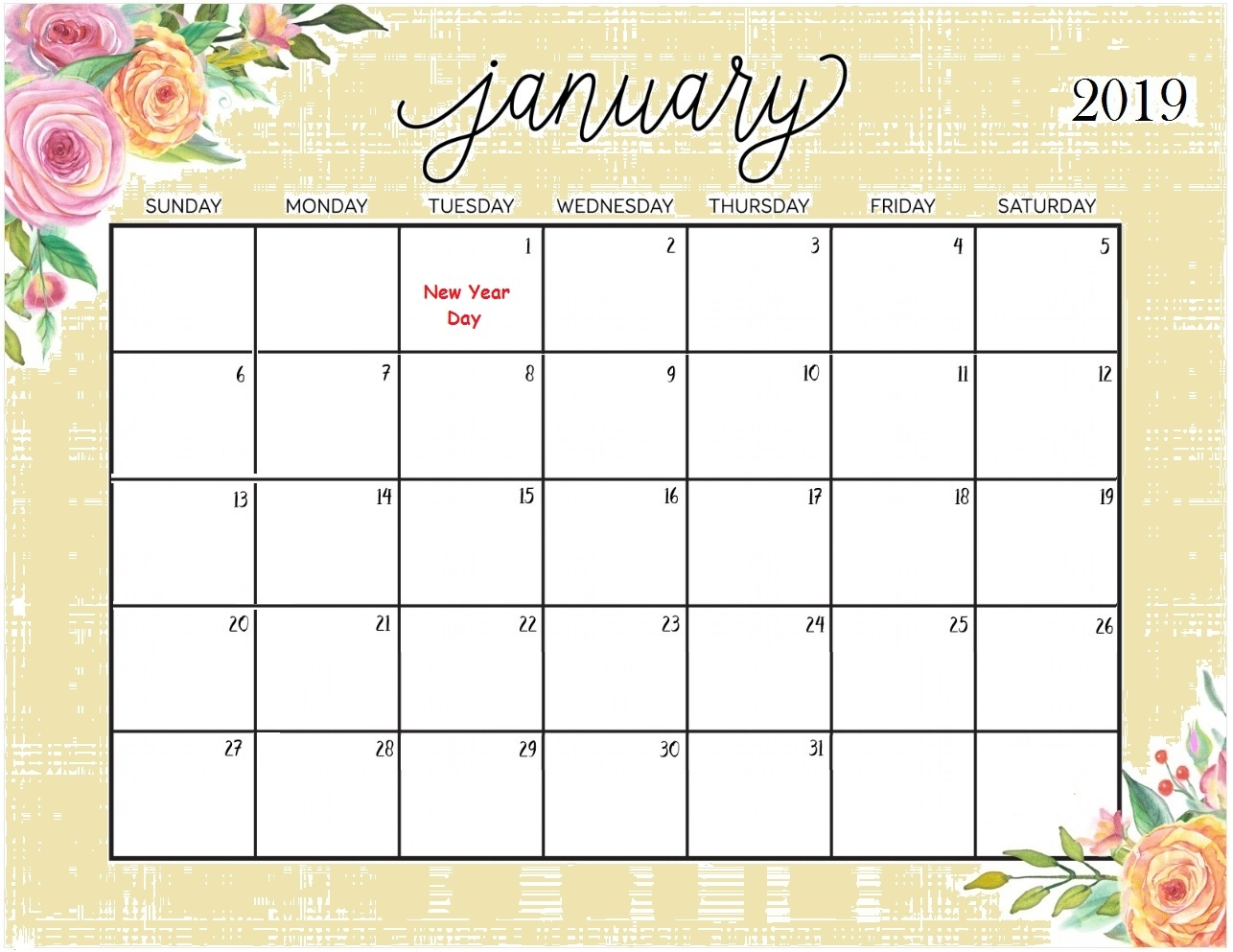 picture pictures printable template calendar 2018::January 2019 Calendar Printable Template USA UK Canada