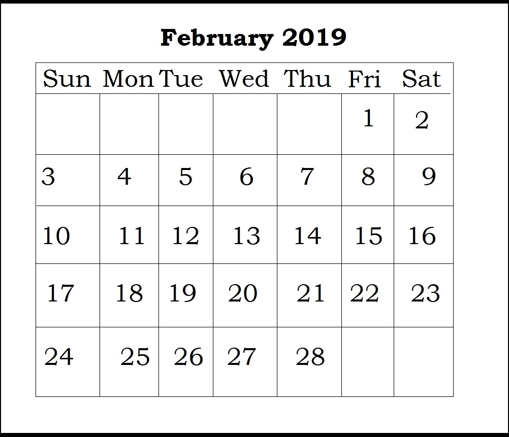 picture printable template 2019::February 2019 Calendar Australia