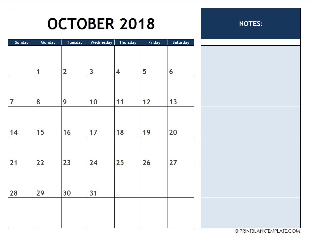 print 12 months calendar templates free October 2018 Calendar with Notes erdferdf