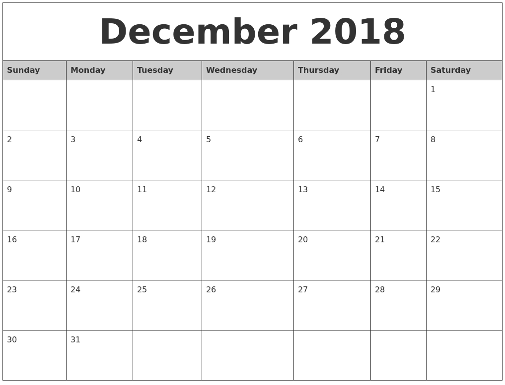 print december 2018 calendar template business calendar templates::December 2018 Calendar Printable Template