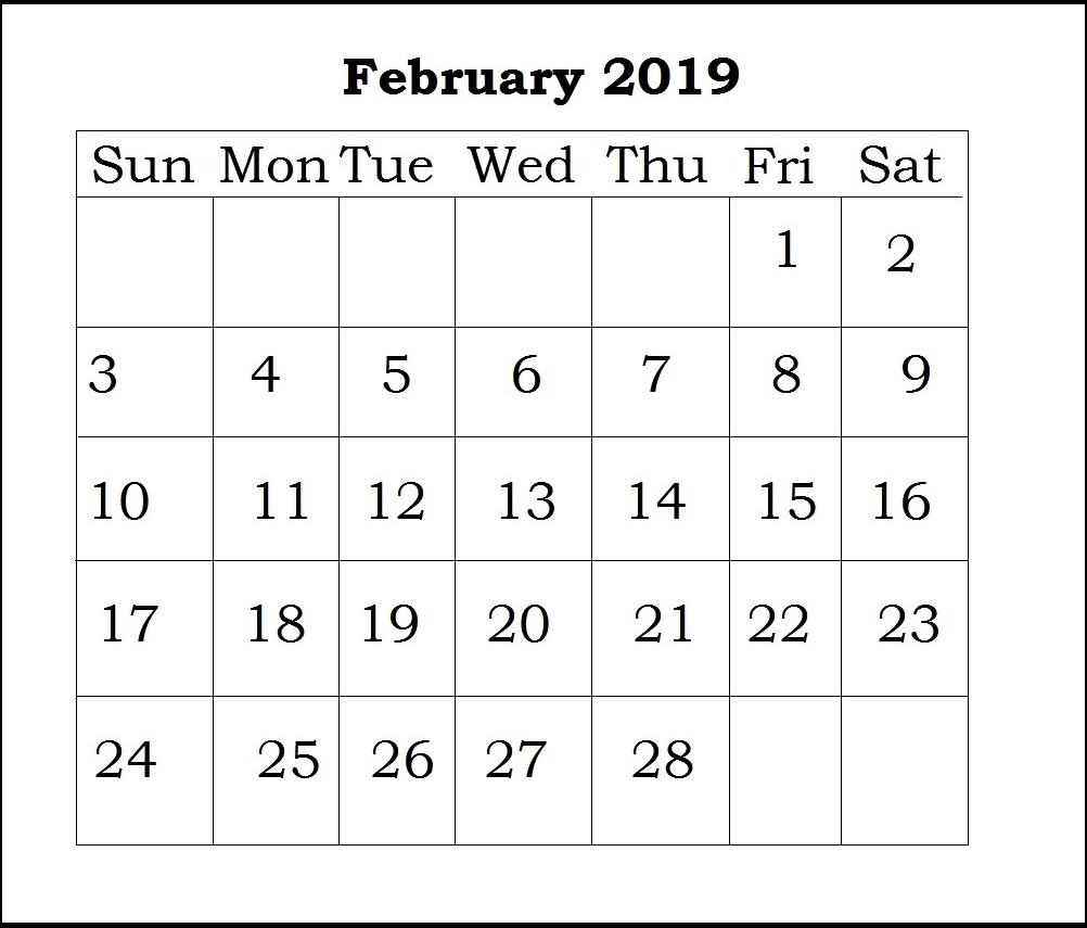 print february 2018 calendar blank February 2019 Calendar erdferdf