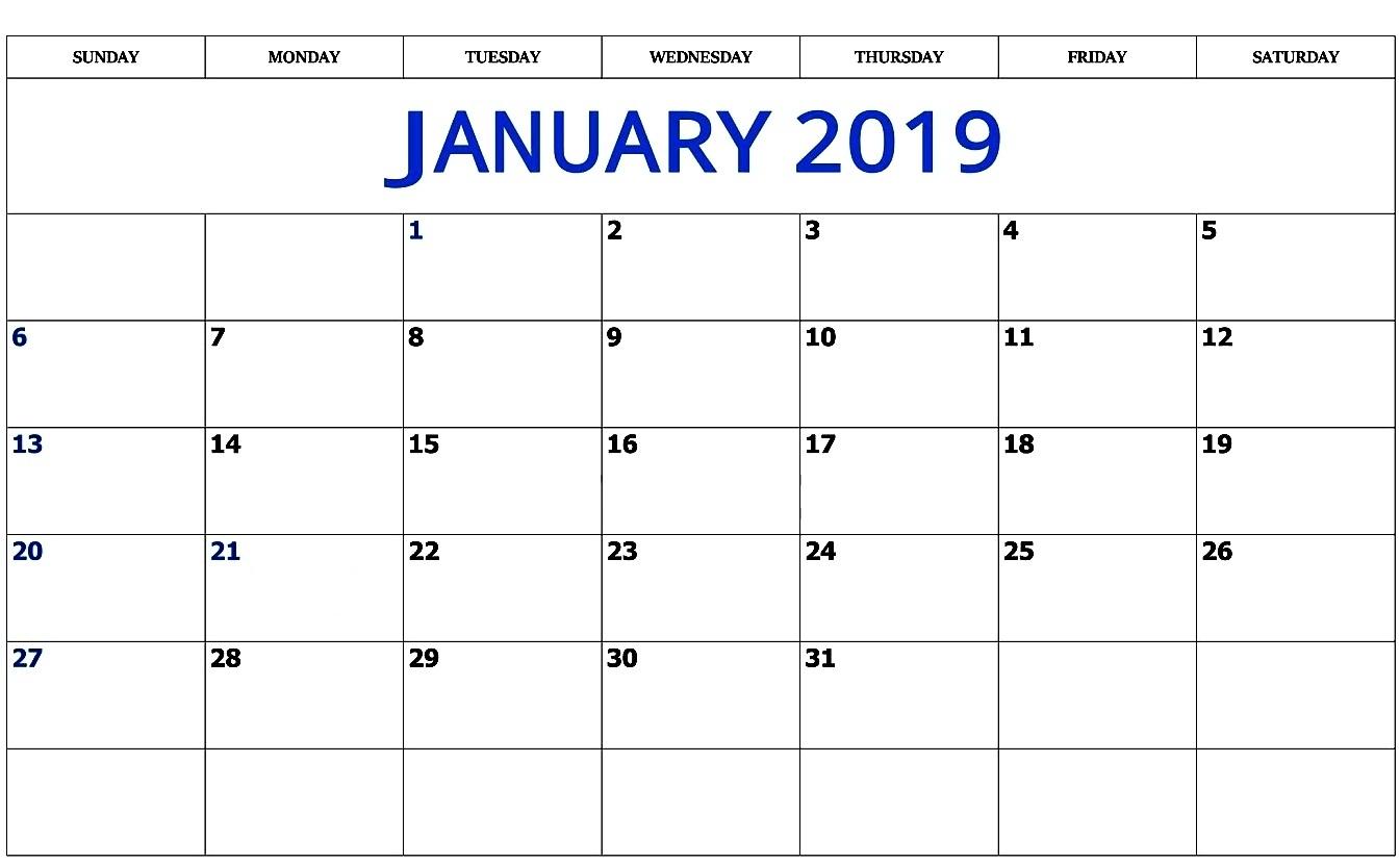 print january 2019 calendar free printable printable calendar 2018::Print January 2019 Calendar