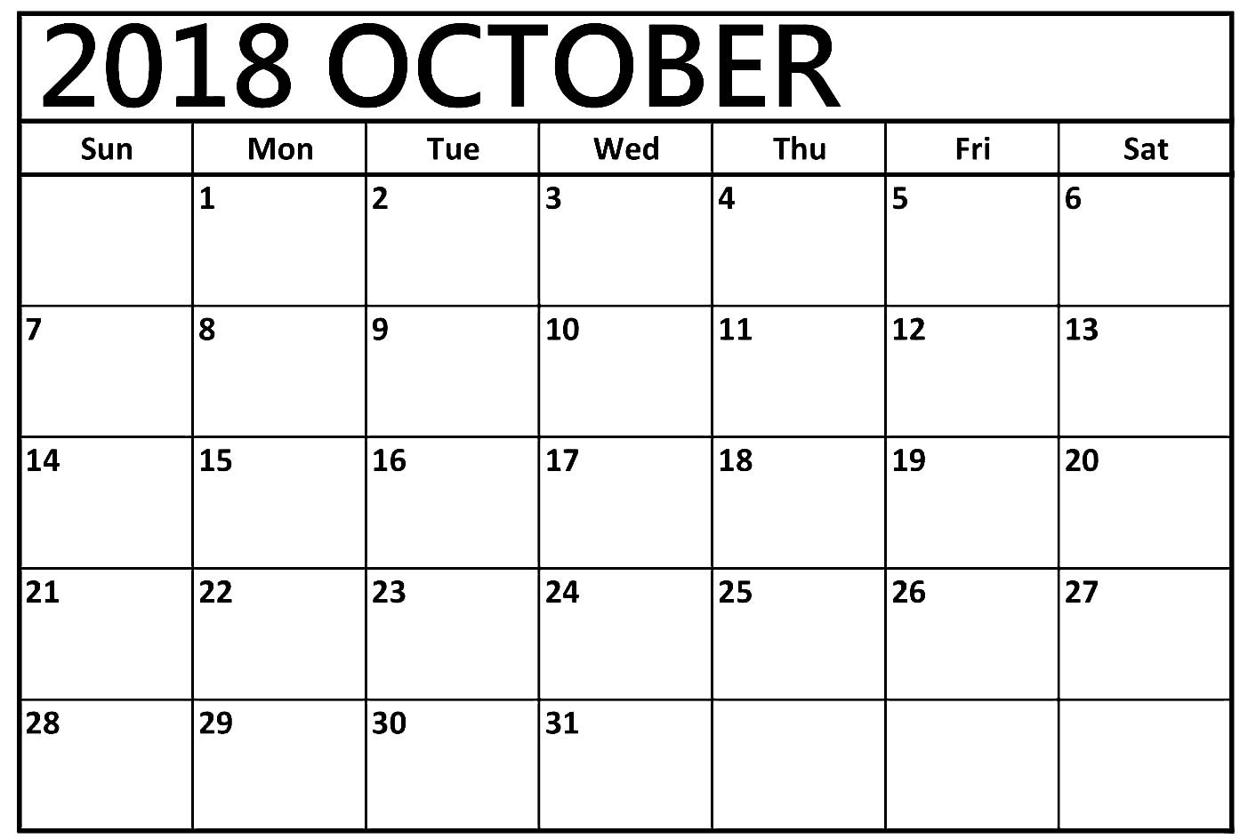 print october 2018 calendar template business calendar templates October 2018 Calendar Printable Template erdferdf