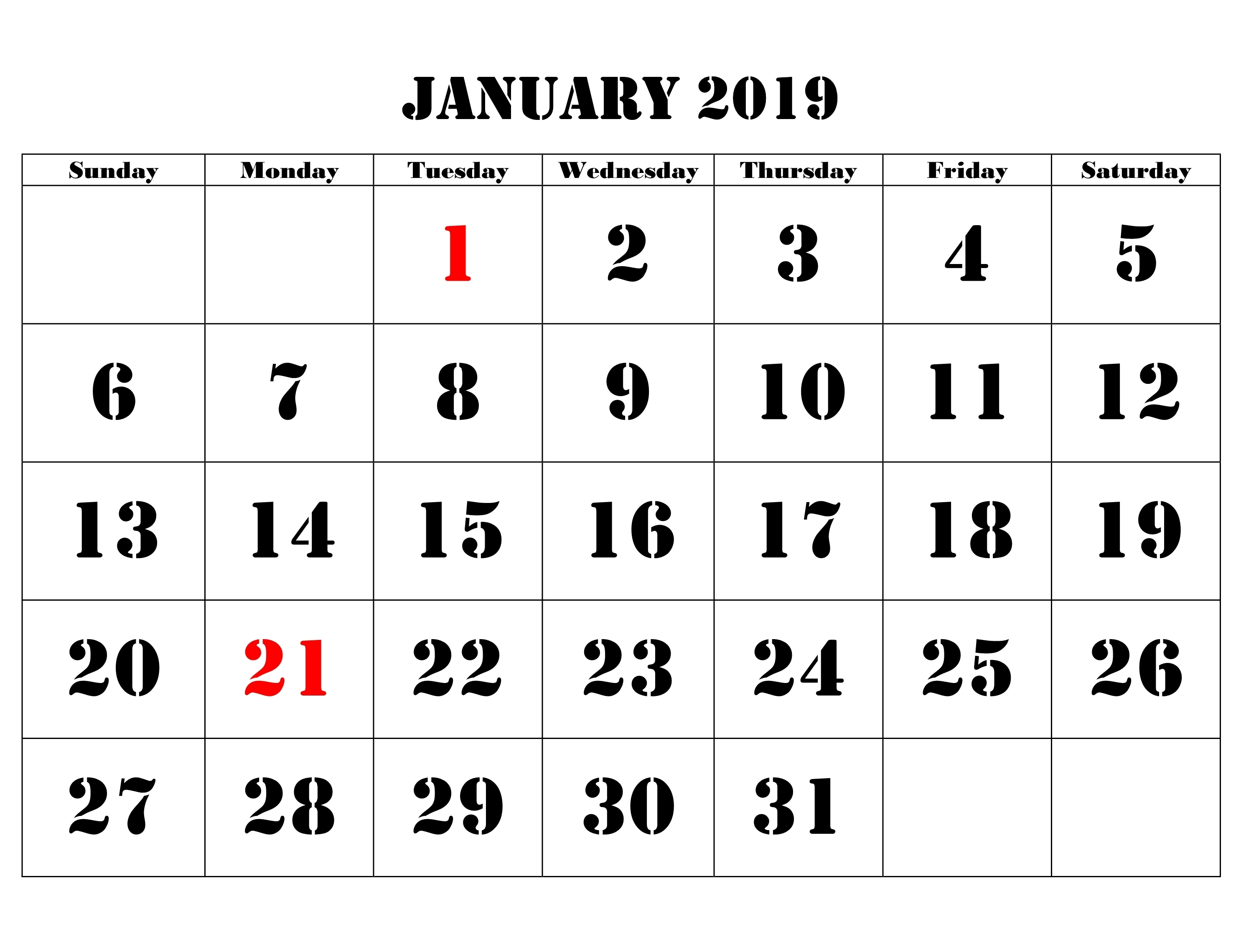 printable calendar january 2019 monthly printable calendar 2018::January 2019 Monthly Calendar