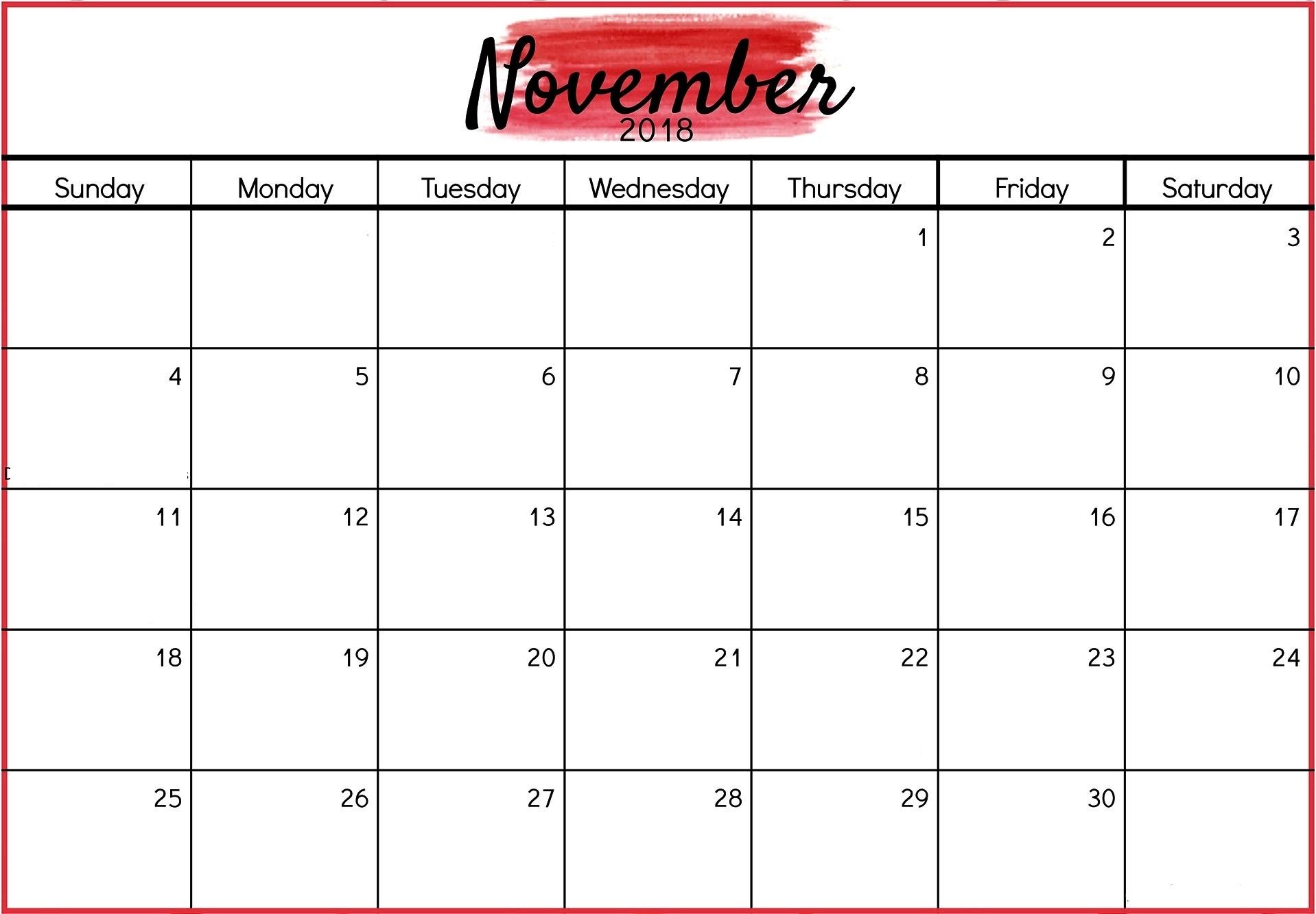 printable calendar november 2018 editable design printable Editable November 2018 Calendar erdferdf