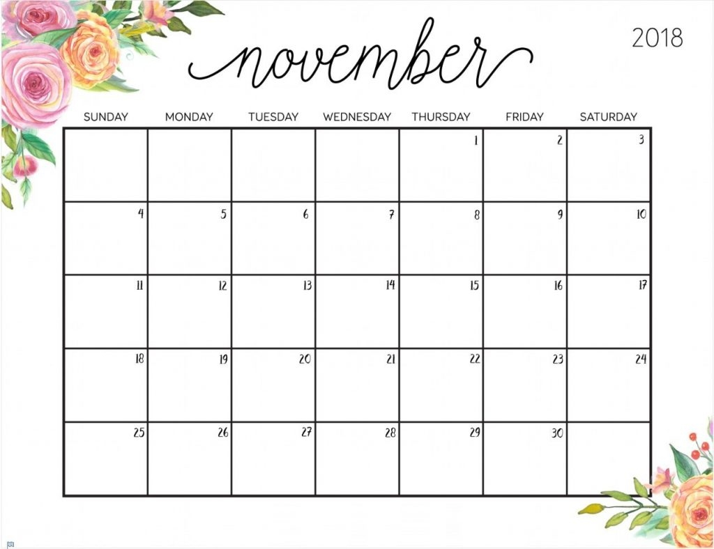 printable calendar november 2018 word template reminders calendar::November 2018 Calendar Printable Template