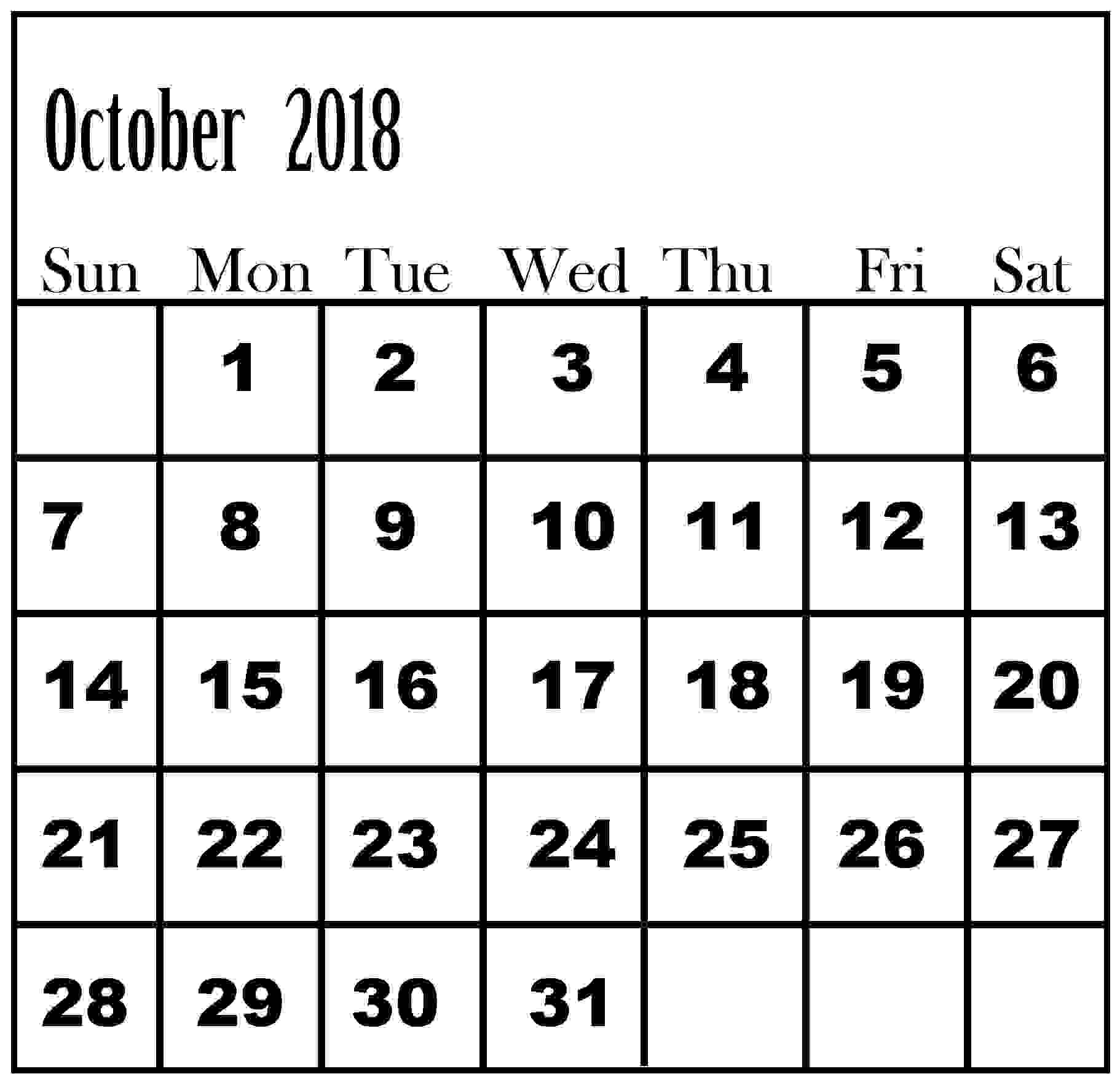 printable calendar october 2018 best calendar printable pdf Calendar October 2018 Printables erdferdf