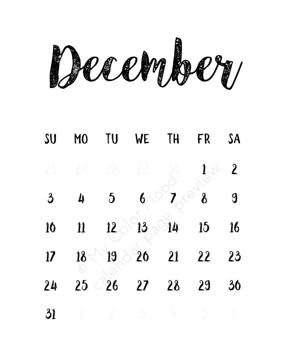 printable december 2018 calendar cute printable calendar 2018::December 2018 Calendar Cute