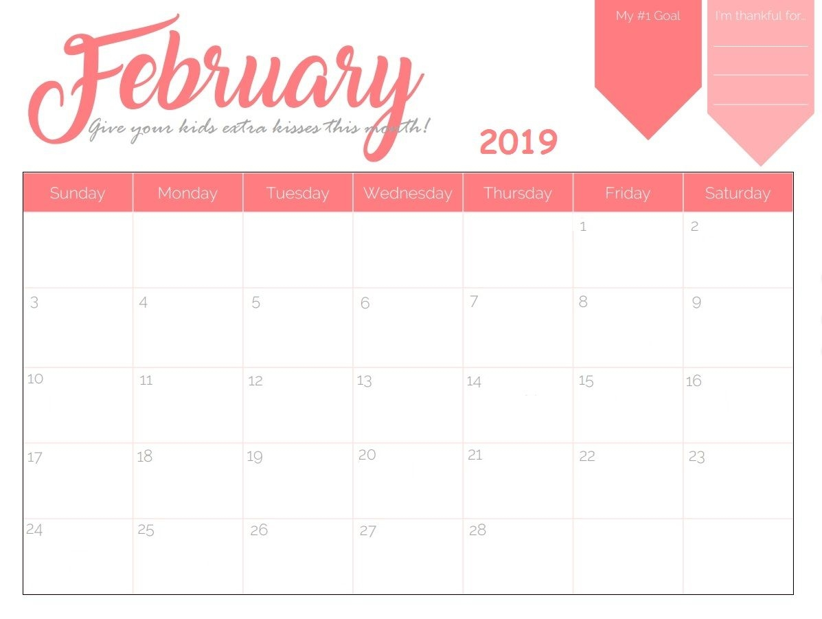 printable february 2019 calendar calendar 2018 pinterest free::February 2019 Calendar Template Printable