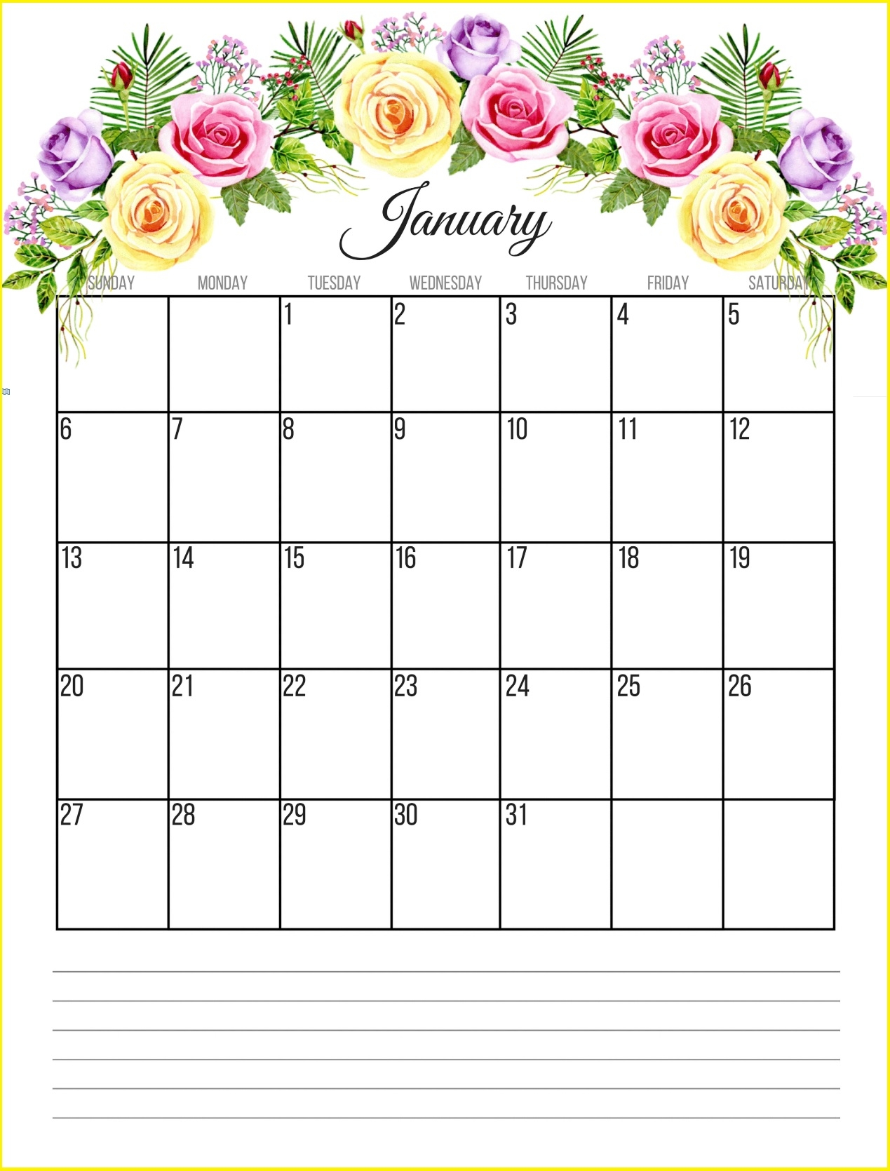 printable floral 2019 monthly calendar calendar 2019::January 2019 Monthly Calendar