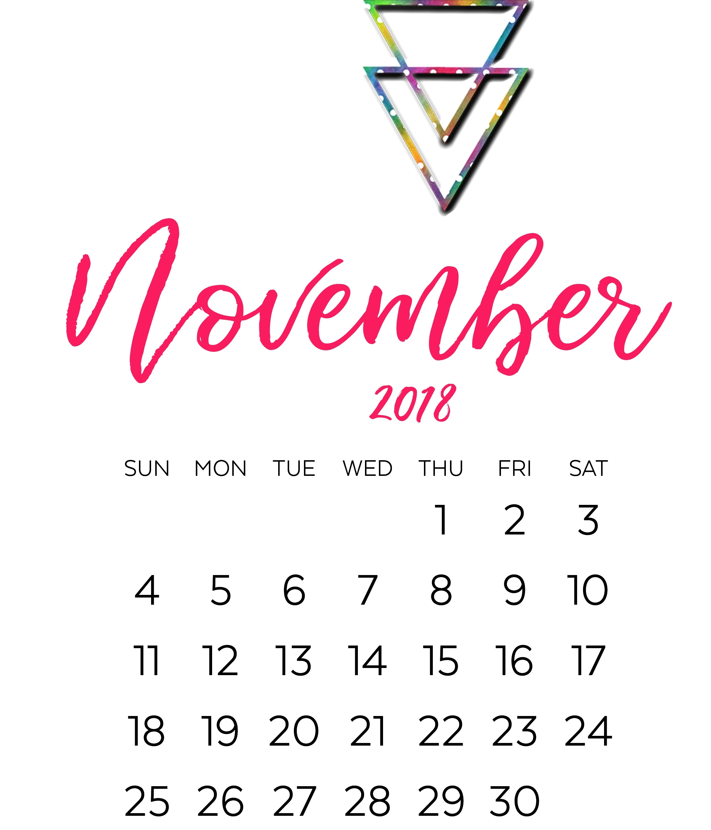 printable free template november 2018 landscape portrait calendar::November 2018 Calendar Printable Template