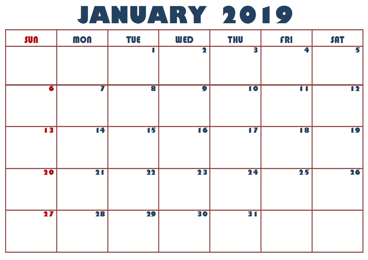 printable january holiday calendar 2019 march 2019 calendar printable::January 2019 Calendar Printable
