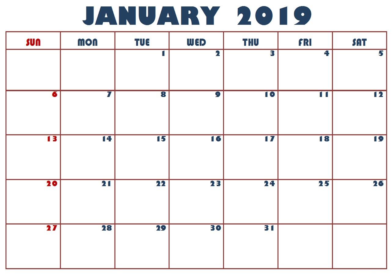 printable january holiday calendar 2019 march 2019 calendar printable::Print January 2019 Calendar
