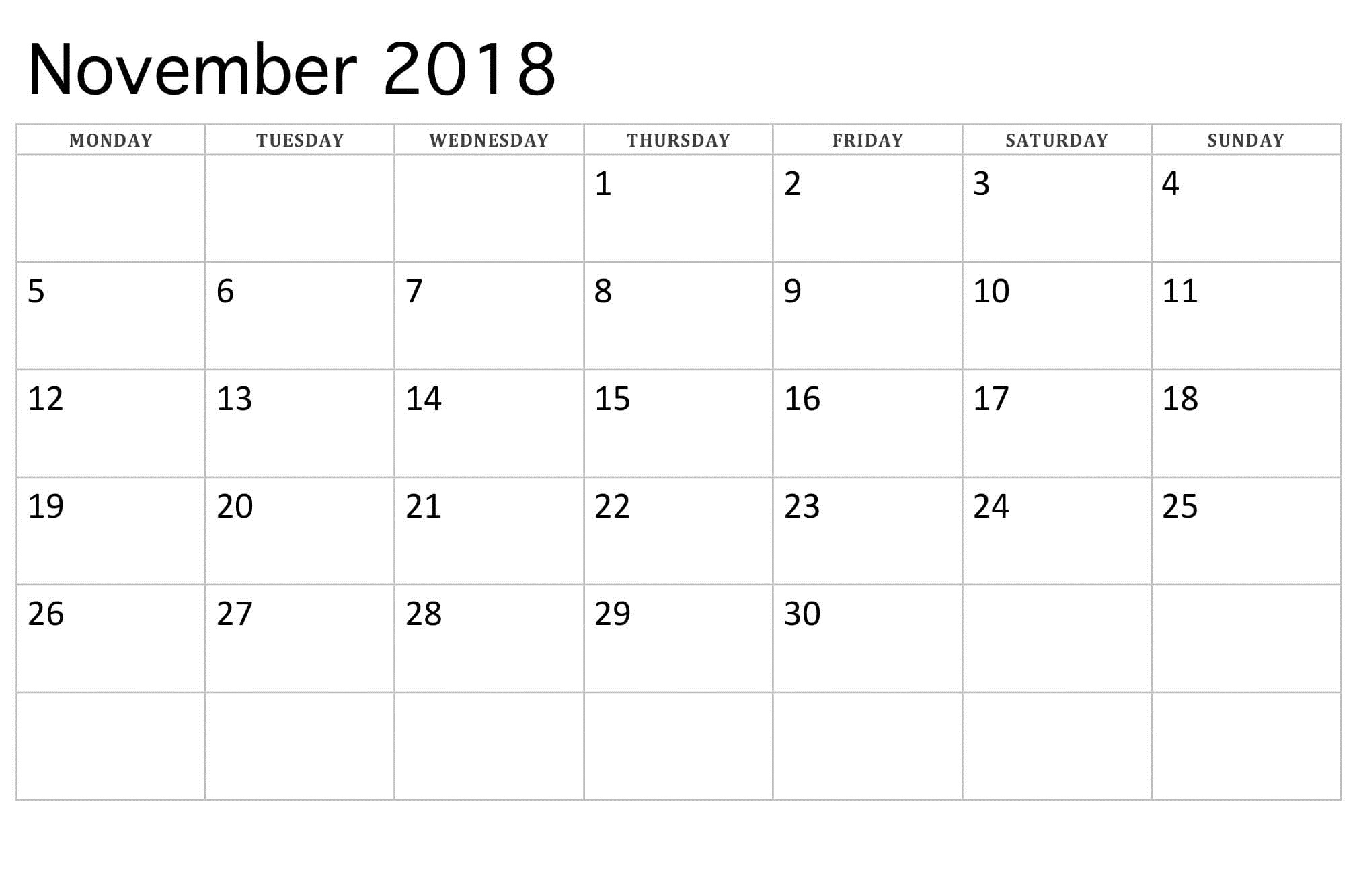 printable november 2018 calendar for daily weekly monthly::November 2018 Calendar