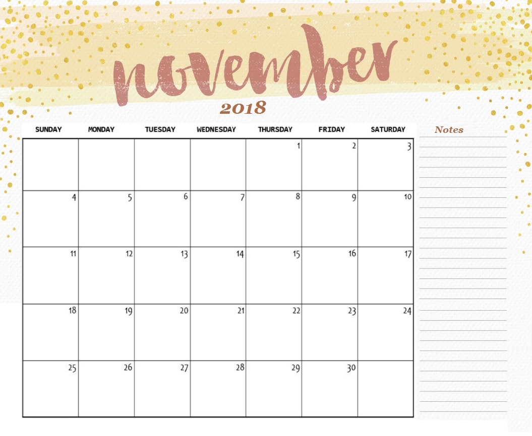 printable november calendar 2018 business calendar templates::November 2018 Calendar Template