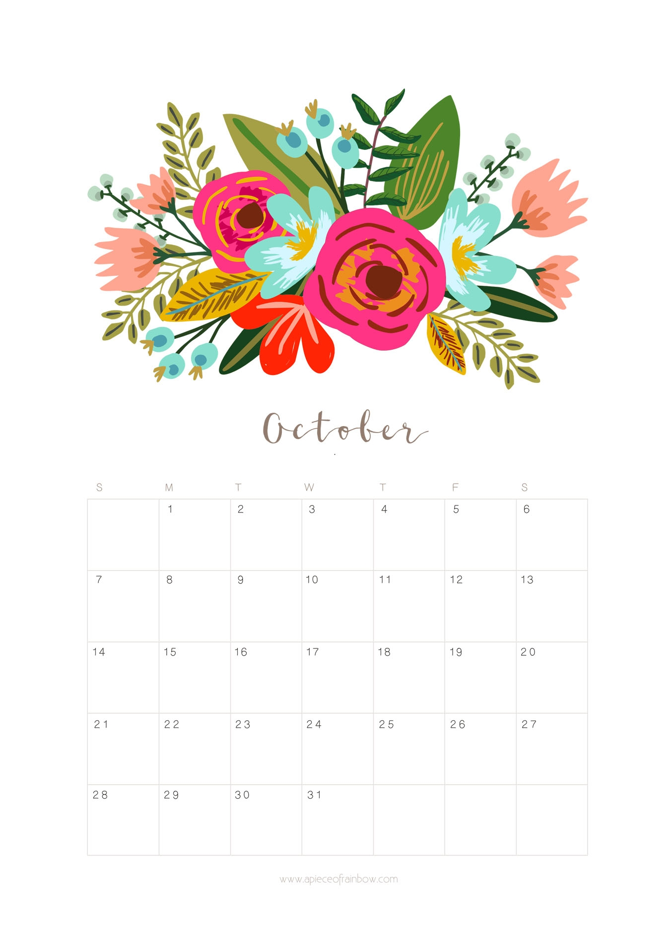 printable october 2018 calendar monthly planner floral design a Printable October 2018 Calendar erdferdf