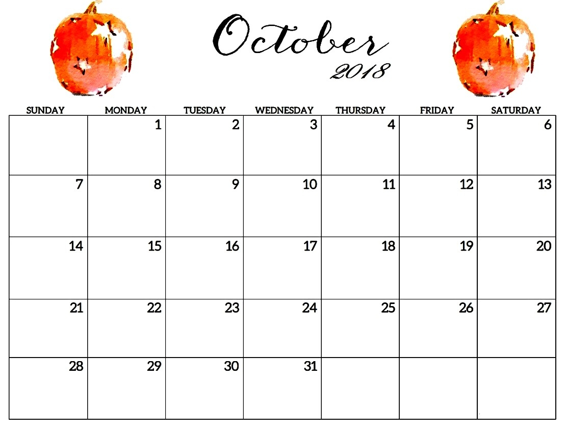 printable october 2018 calendar pdf template free download Free October 2018 Calendar Word Document erdferdf
