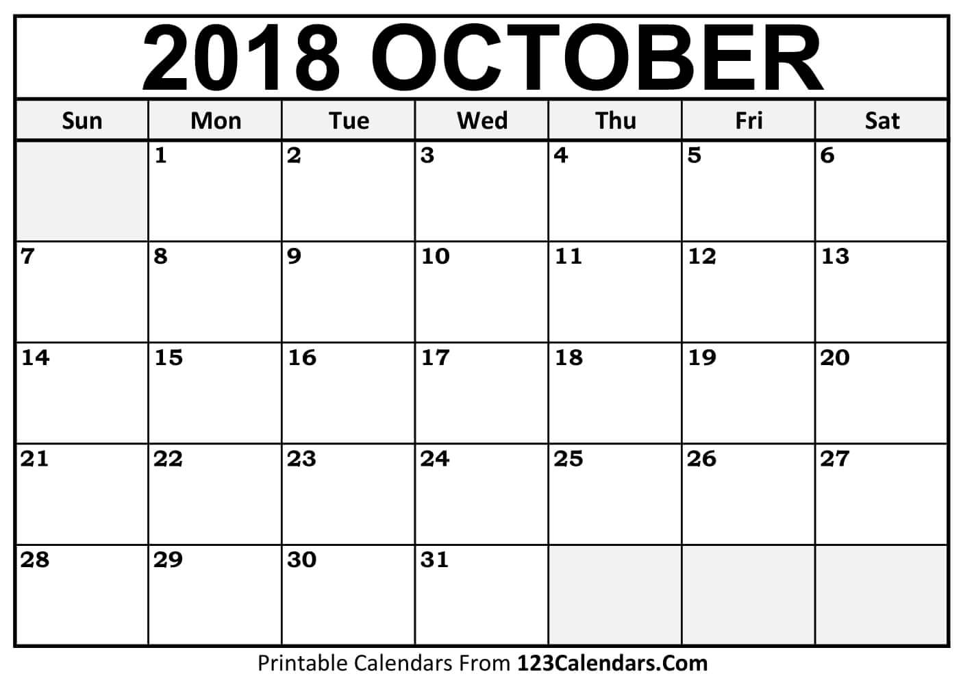 printable october 2018 calendar templates 123calendars October 2018 Calendar Printable Template erdferdf