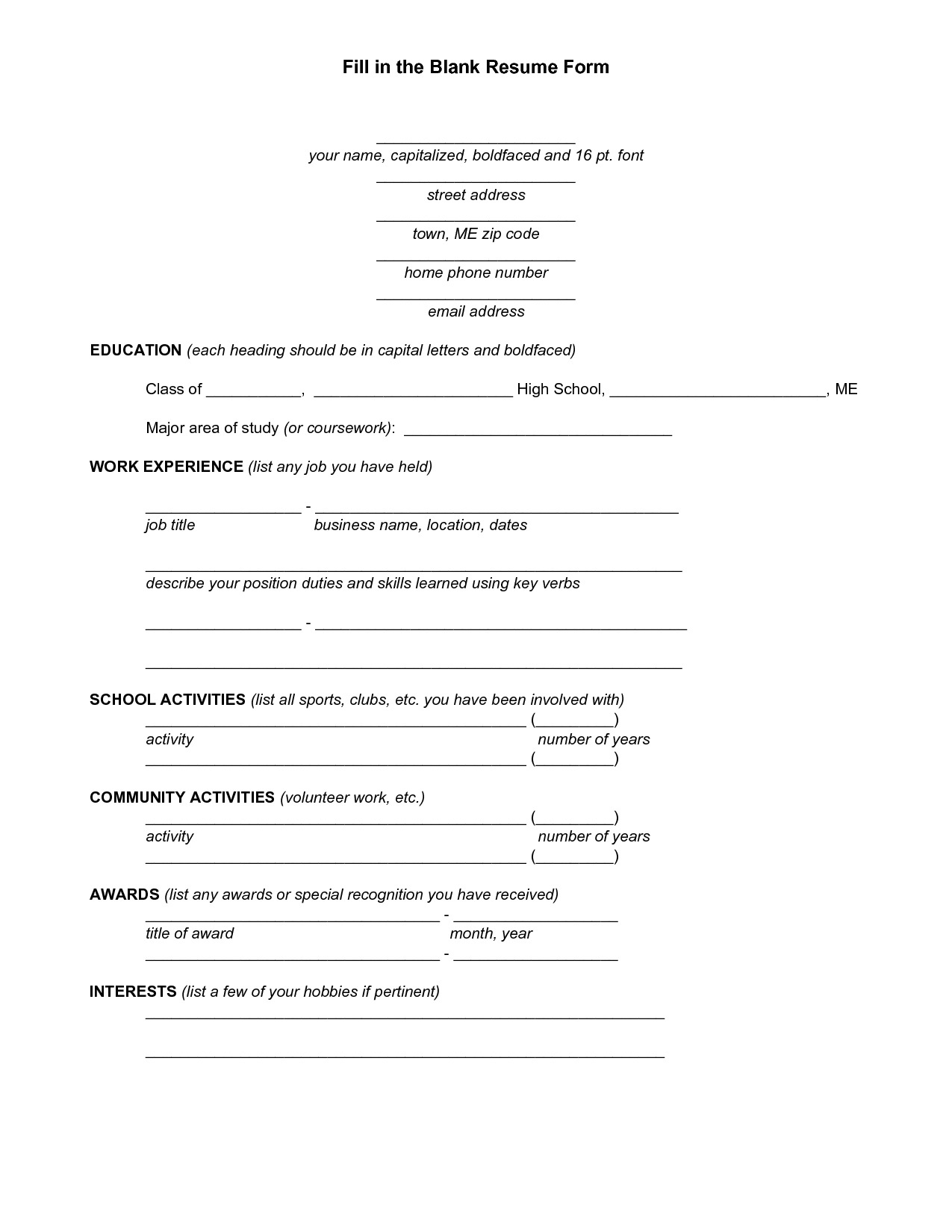 resume blank form download vatozatozdevelopmentco::Printable Resume CV Templates & Format Sample