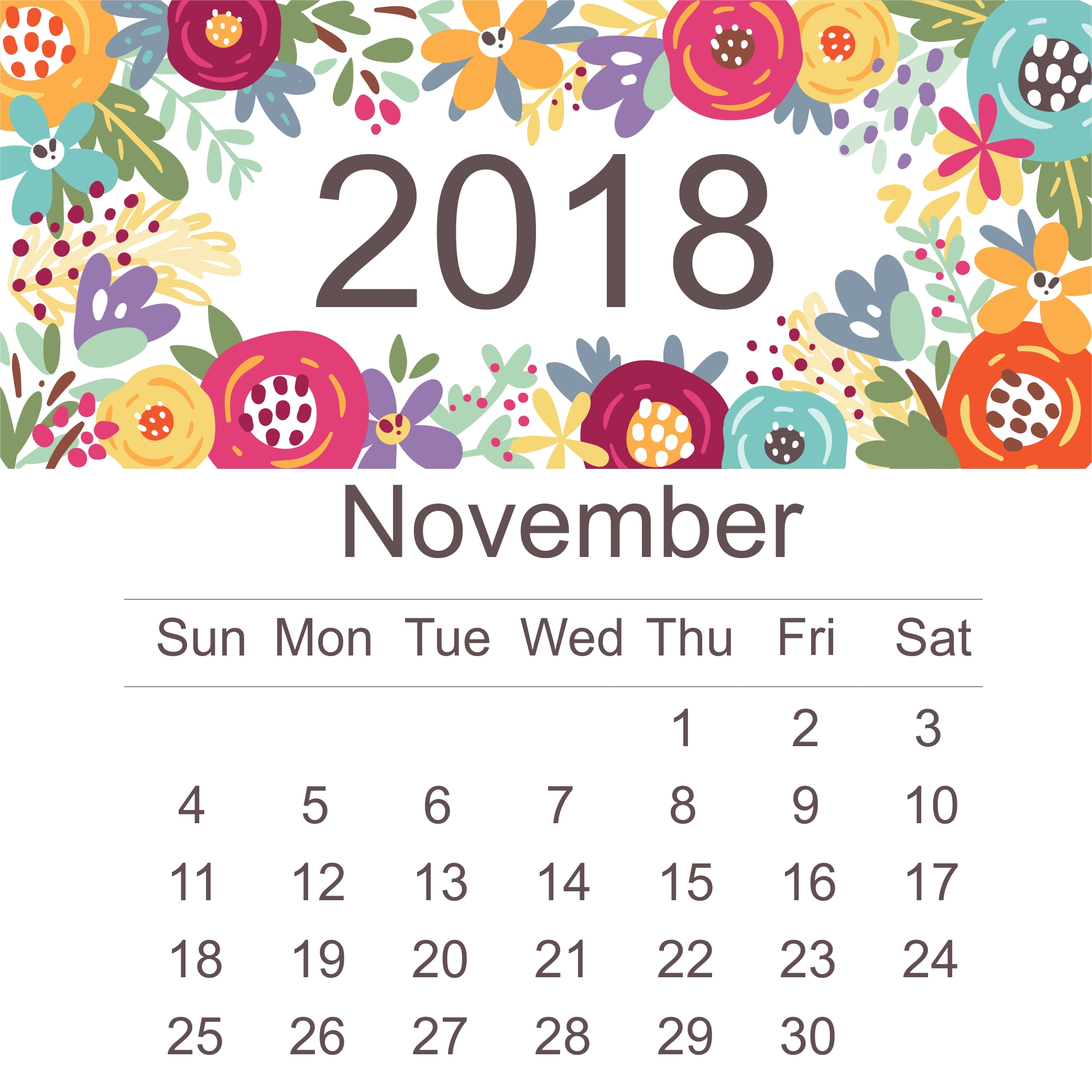 sample of november 2018 calendar template april 2018 calendar::November 2018 Calendar Printable