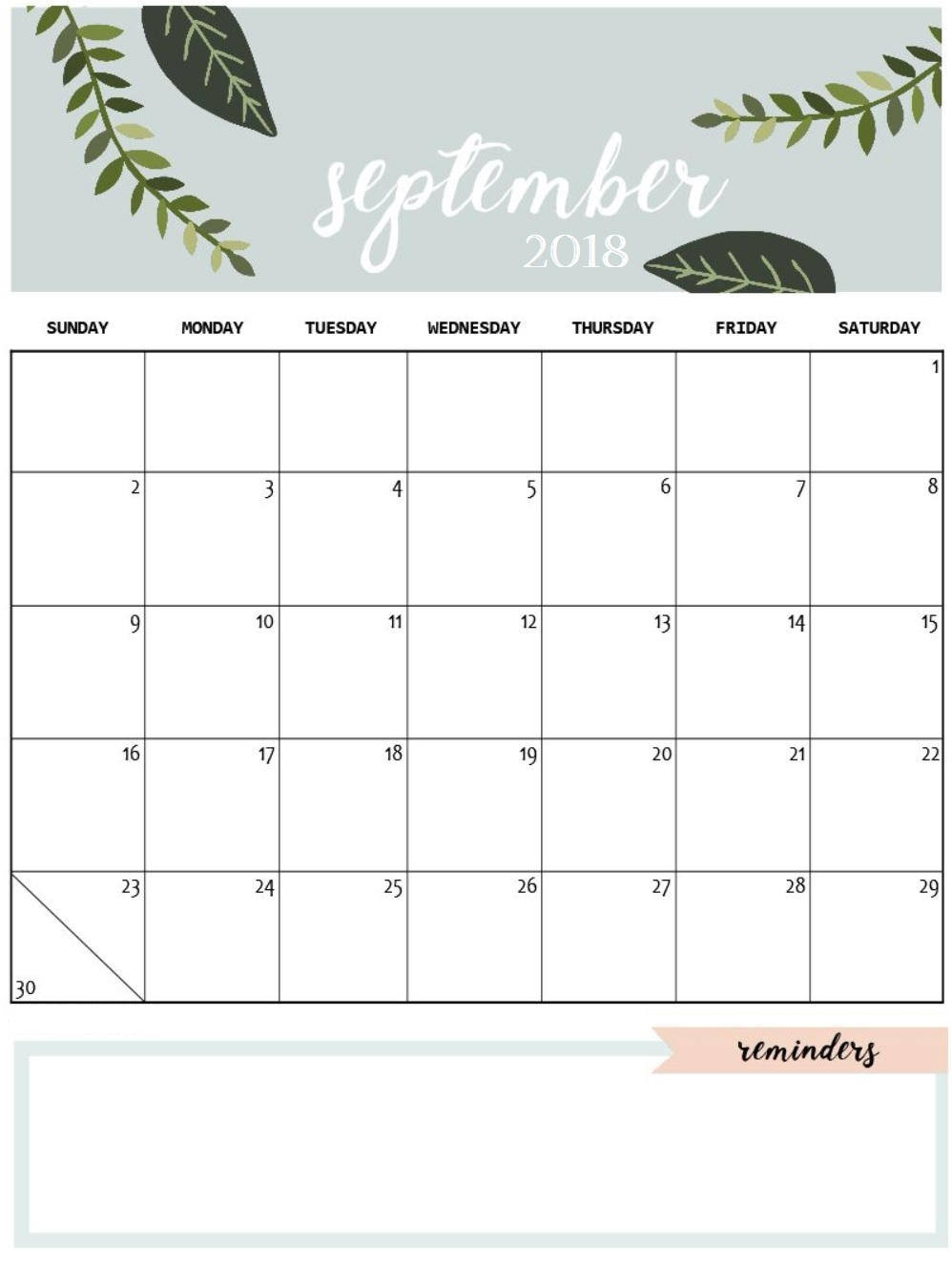 september 2018 calendar cute month printable calendar Cute Free Monthly Printable Calendar 2018 erdferdf