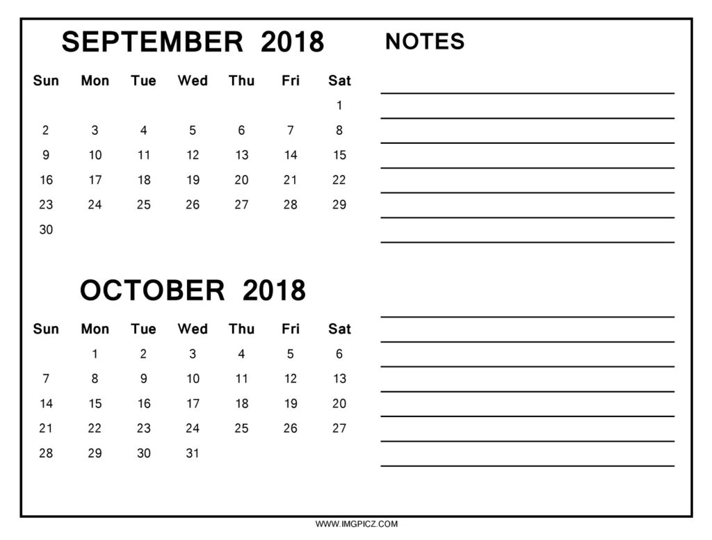 september october 2018 calendar printable yelommyphonecompanyco October 2018 Calendar with Notes erdferdf