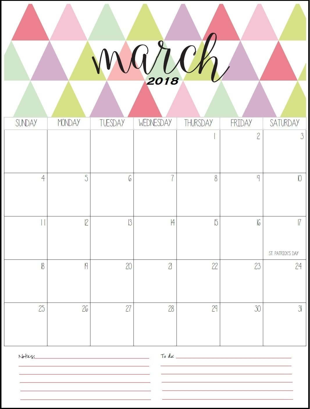 stylish march 2018 printable calendar maxcalendars pinterest 2018 Stylish Calendar Templates erdferdf