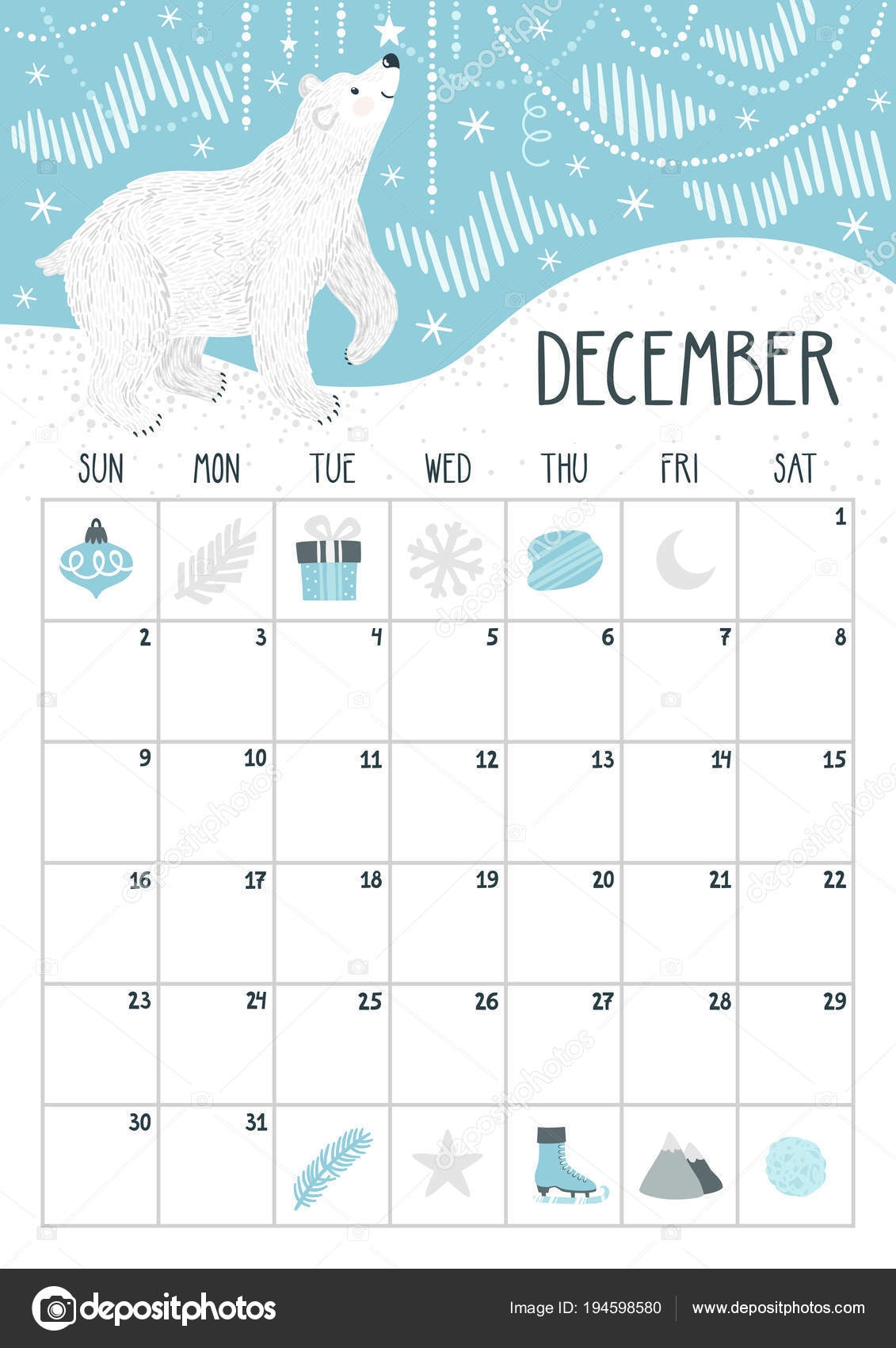 vector monthly calendar with cute polar bear december 2018::December 2018 Calendar Cute