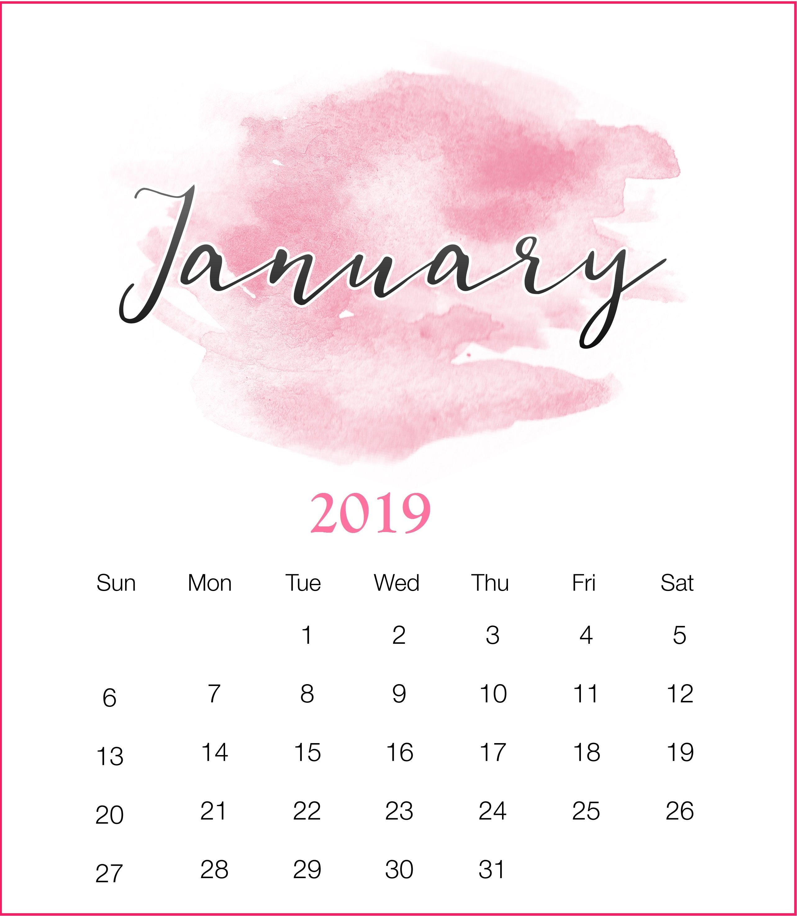watercolor 2019 january printable calendar january2019 watercolor::January 2019 Monthly Calendar