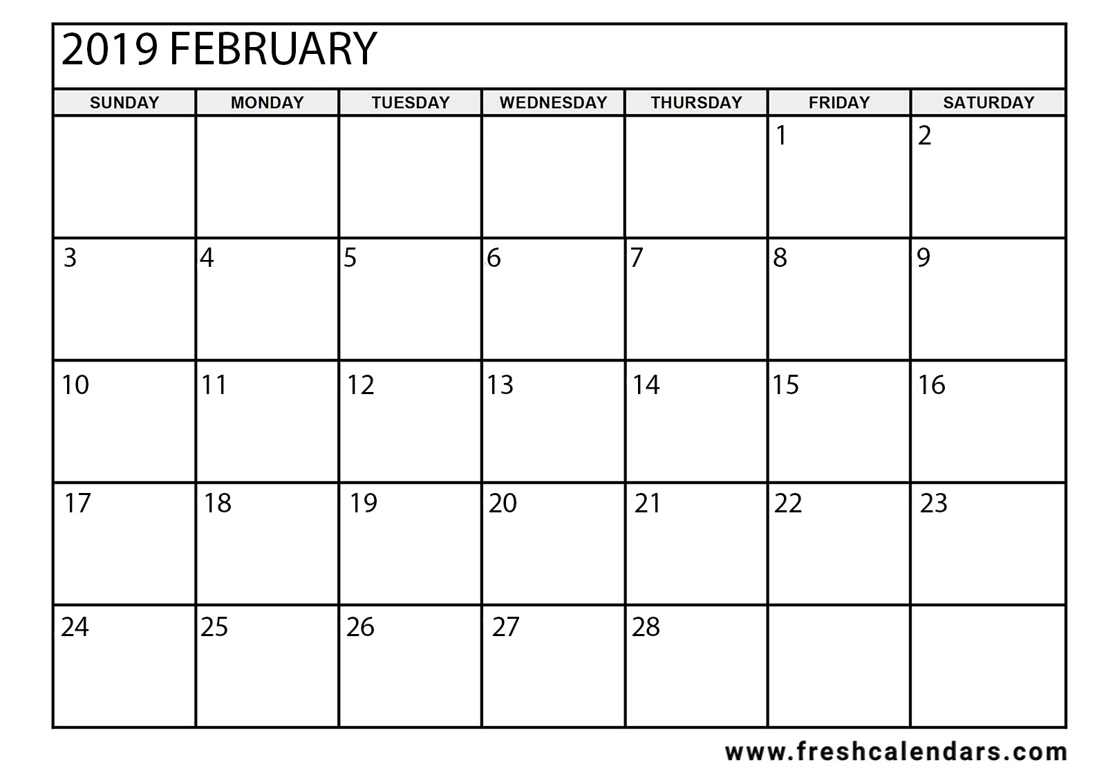 15 best february 2019 calendar printable templates::February 2019 Calendar A4