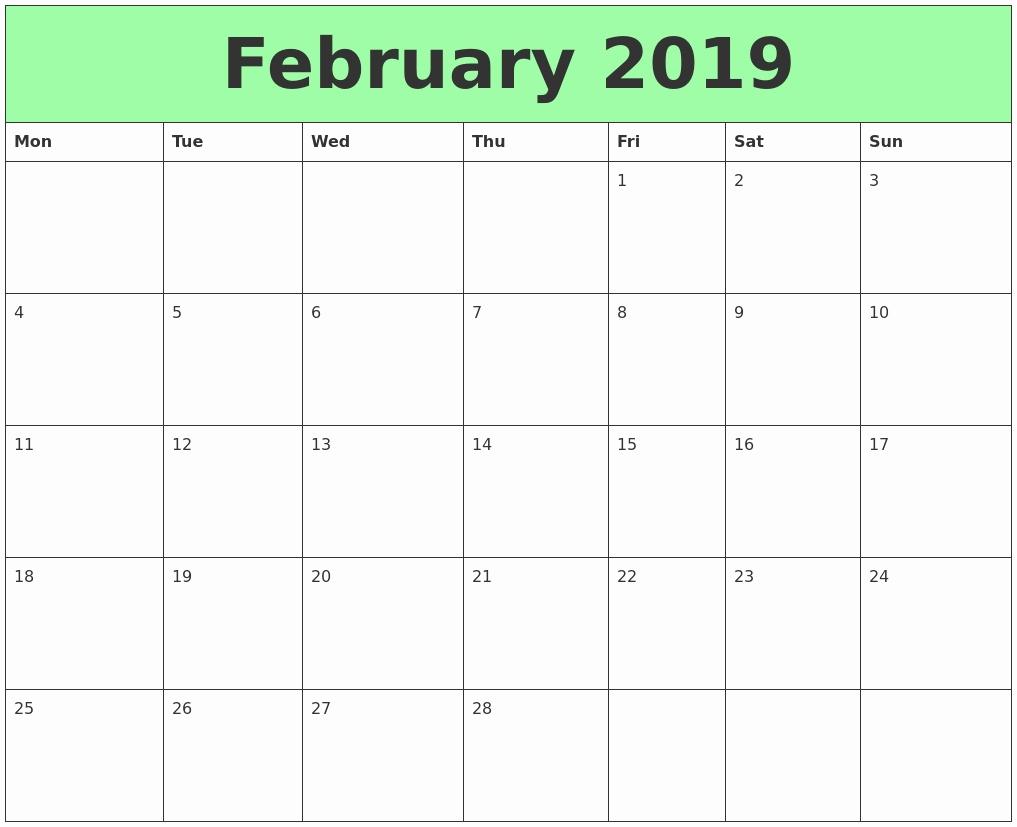 2019 calendar excel  niche templates::February 2019 Calendar Excel