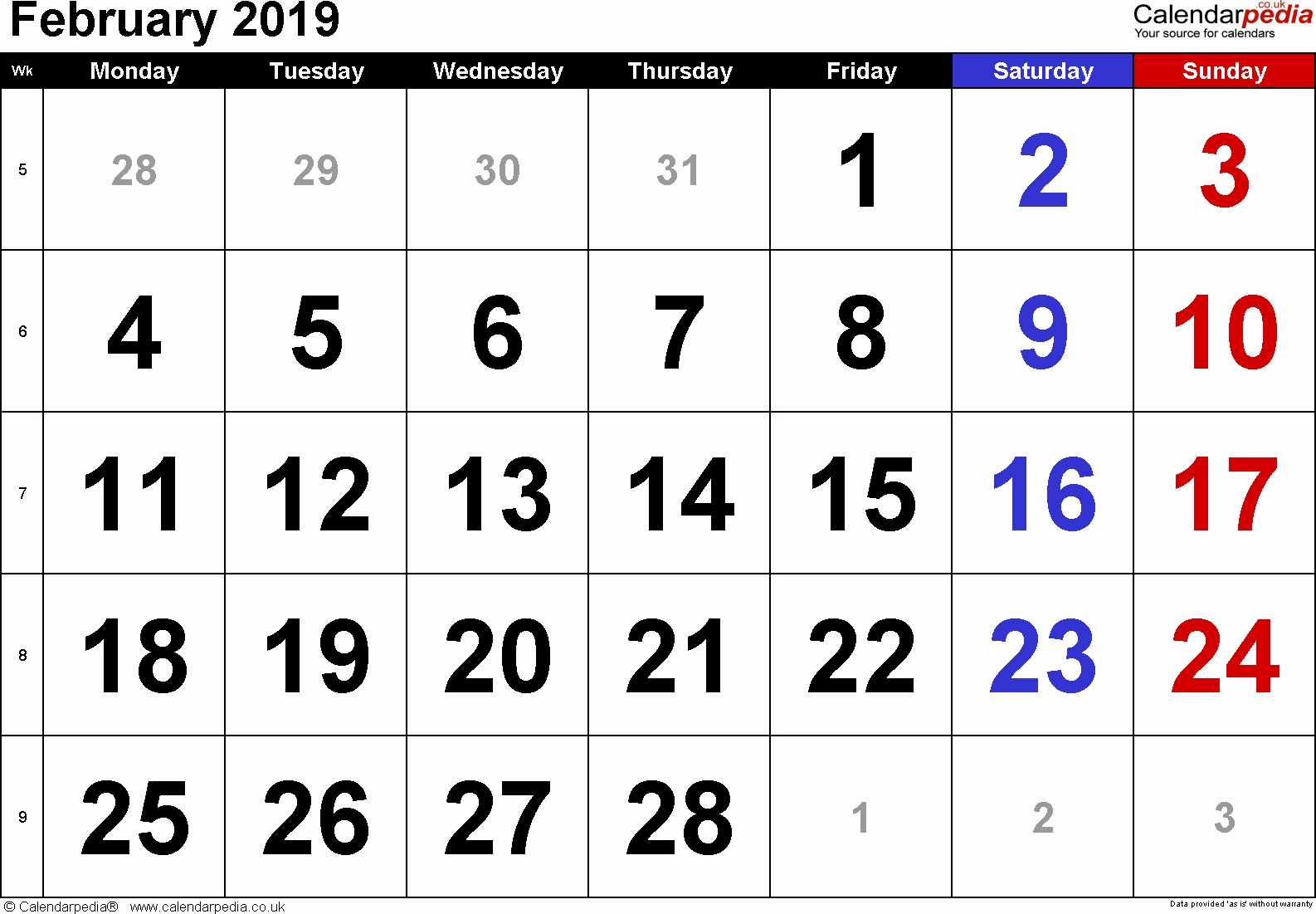 2019 calendar uk excel calendar february 2019 uk bank holidays excel::February 2019 Calendar Word