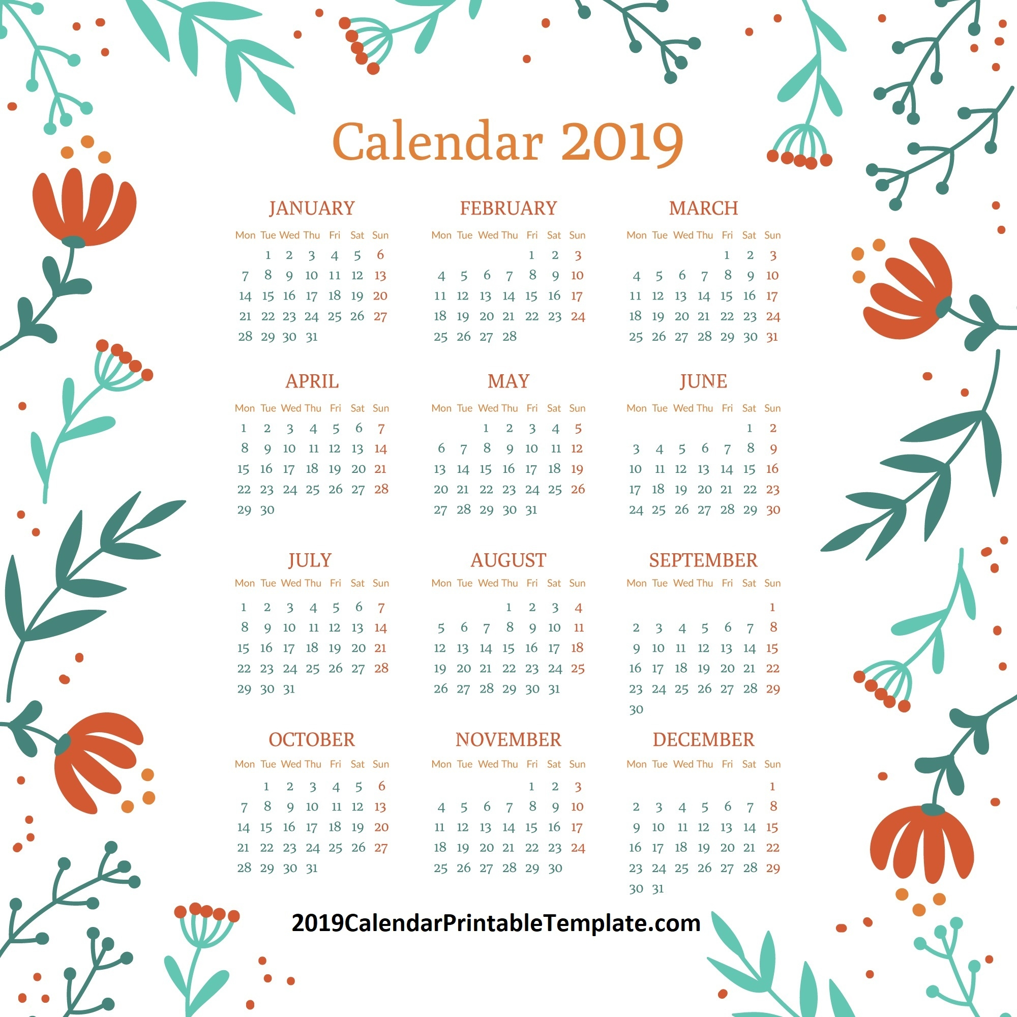 2019 monthly calendar template with holidays::Monthly 2019 Holidays Calendar Templates