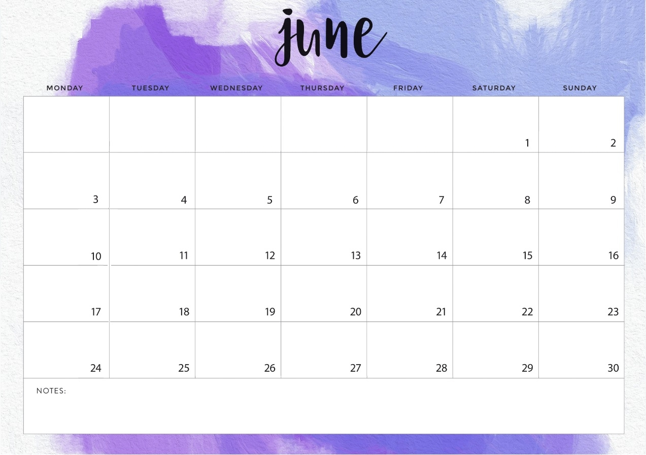 2019 monthly desk calendar::June 2019 Calendar